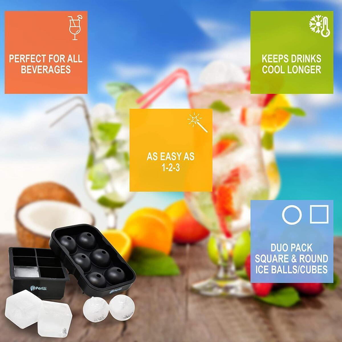 Perlli Ice Cube Trays Silicone Molds Set of 2 whiskey Large Sphere Ice Ball Maker Mold with Lid & Big Square Ice Cube Tray for Cocktails Bourbon & Scotch - Reusable BPA Free Silicon Ice Molds