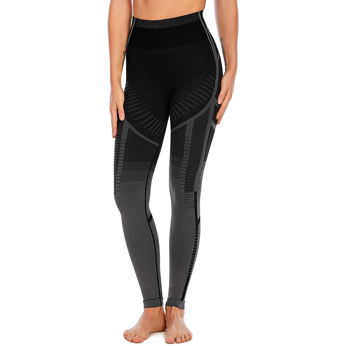 RUNNING GIRL Ombre High Waist Yoga Leggings,Butt Lifting Yoga Pants Tummy Control Compression Gym Workout Leggings for Women(BLACK,M)