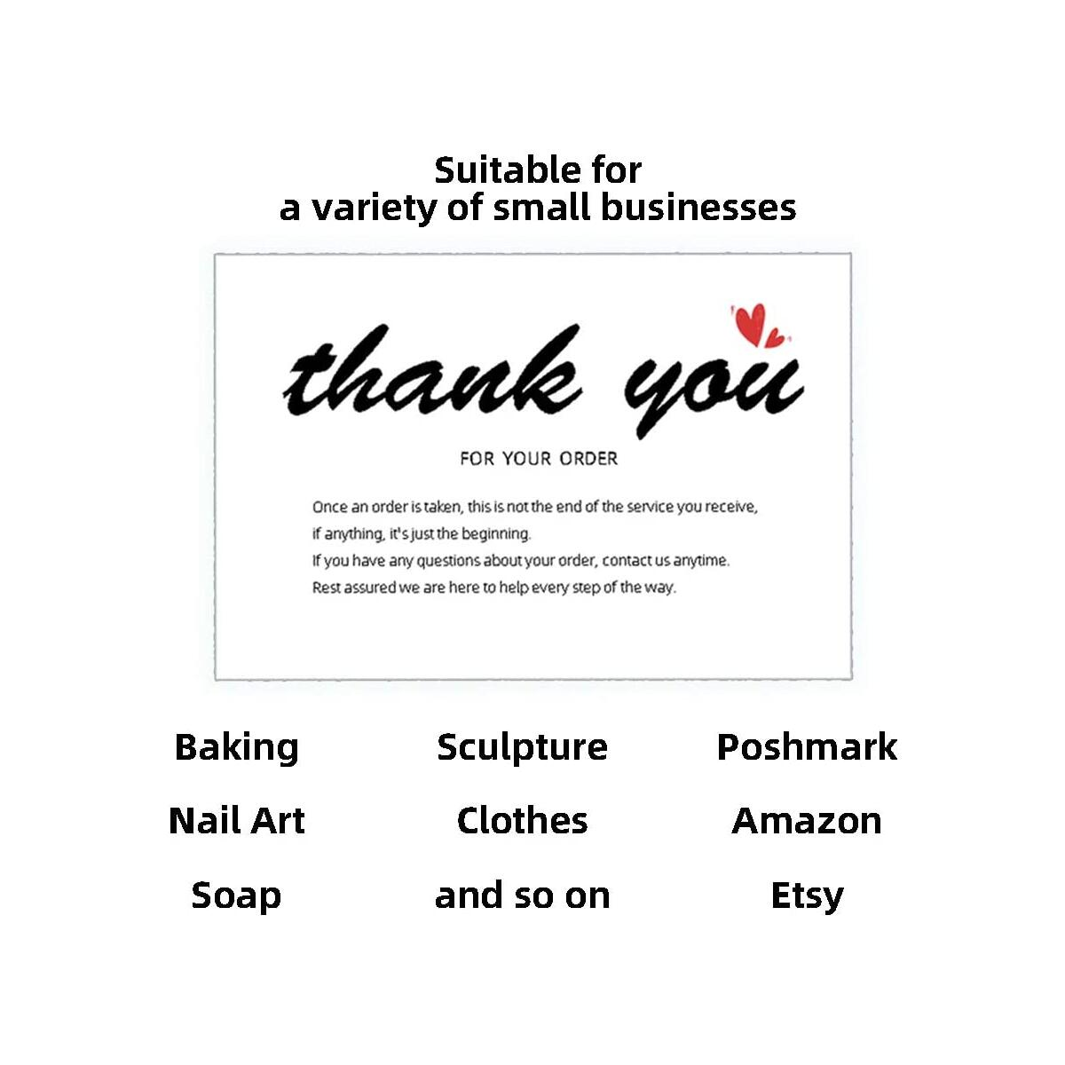50 pcs Large Thank You Cards for Small Business Orders Fit for Online Sales