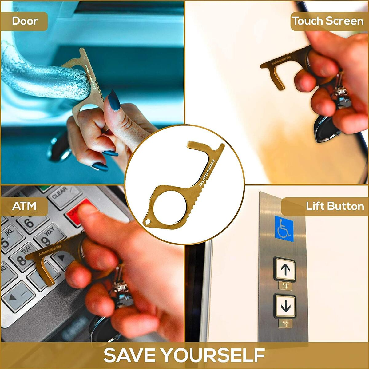 WiserKey-Touchless Hand Hygiene Germkey Avoid Touching Germs Great for Closing & Opening Bathroom Doors, Sinks, Elevator Buttons, Gas Stations, Toilet Doors, Brass Key Hook Keeps Hands Clean.