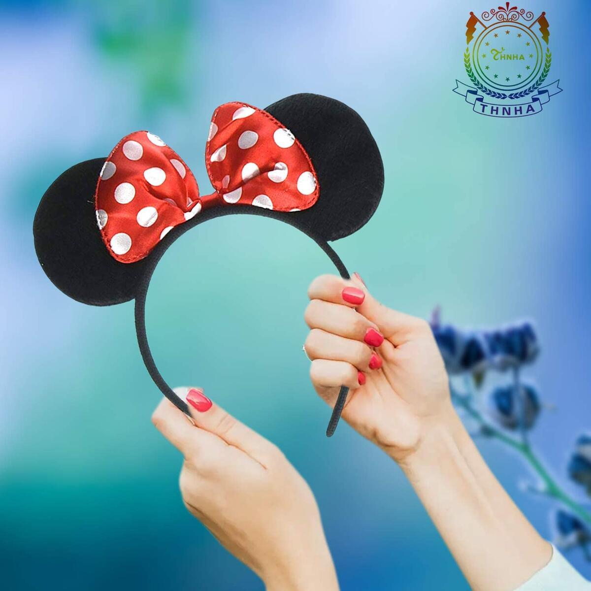 THNHA Mickey Mouse headband birthday party supplies Mouse Ears Baby Hairs Accessories Girl Headwear party decoration baby shower christmas party Set of 2
