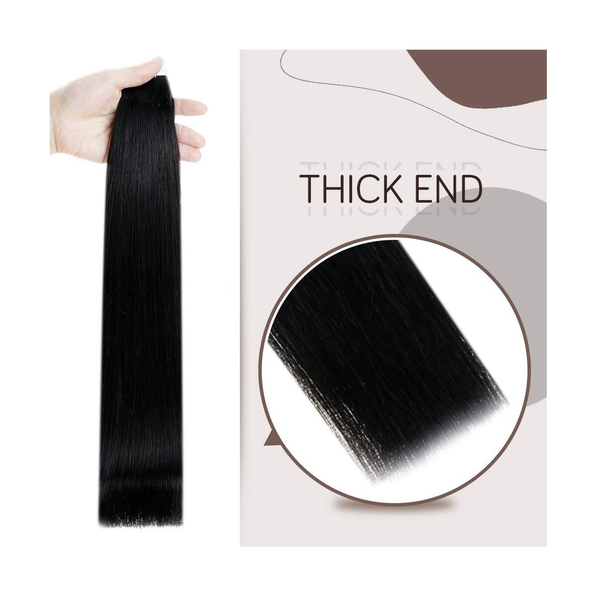 RUNATURE Invisible Tape Hair Extensions 14inch Color 1 Jet Black 40g (20Pcs,2g Per Piece) Real Hair Extensions