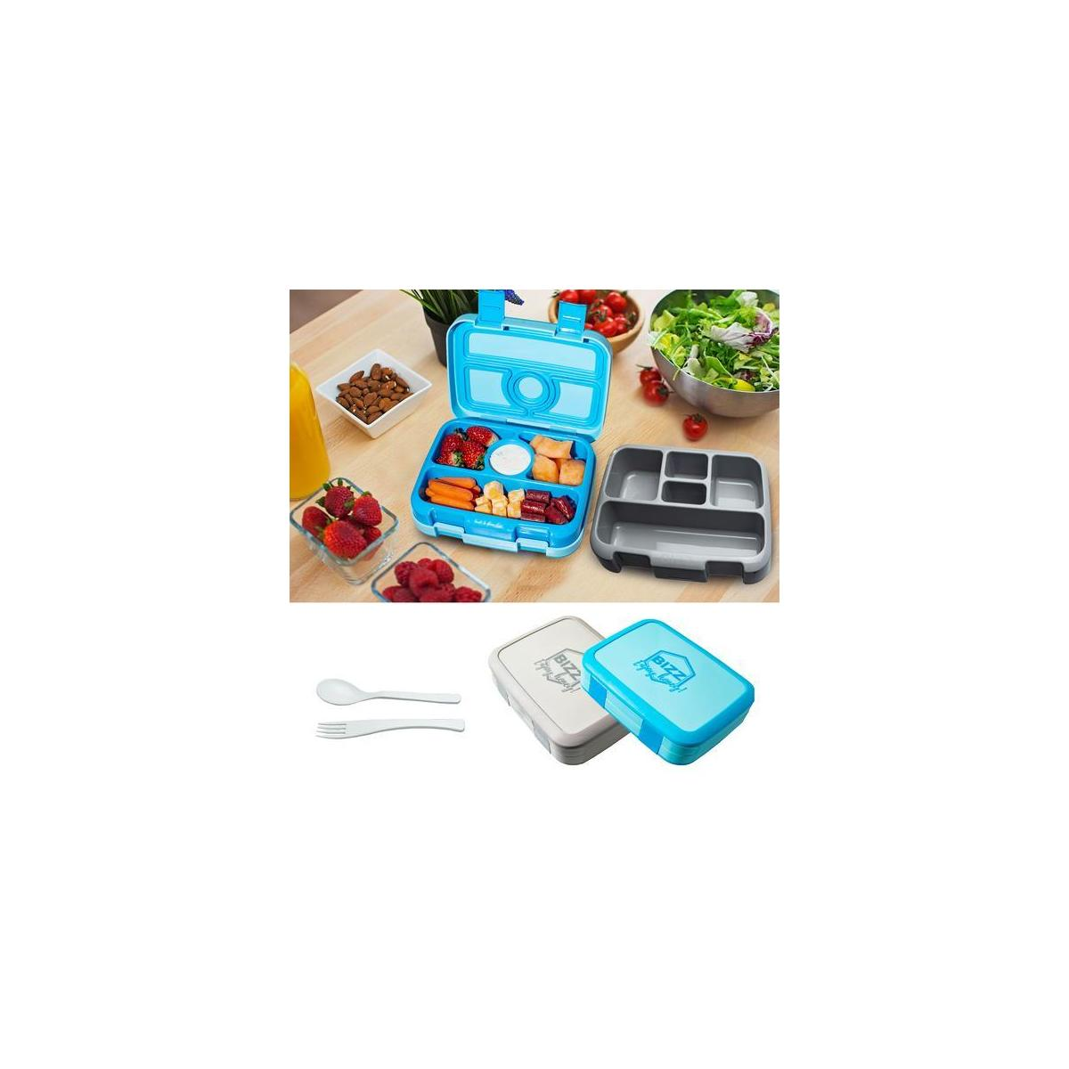 Bento Box Set with Utensils w/Removable Microwaveable, Dishwasher Safe Tray (2-Pack) Portion Control Meal Prep Containers Lunch Boxes