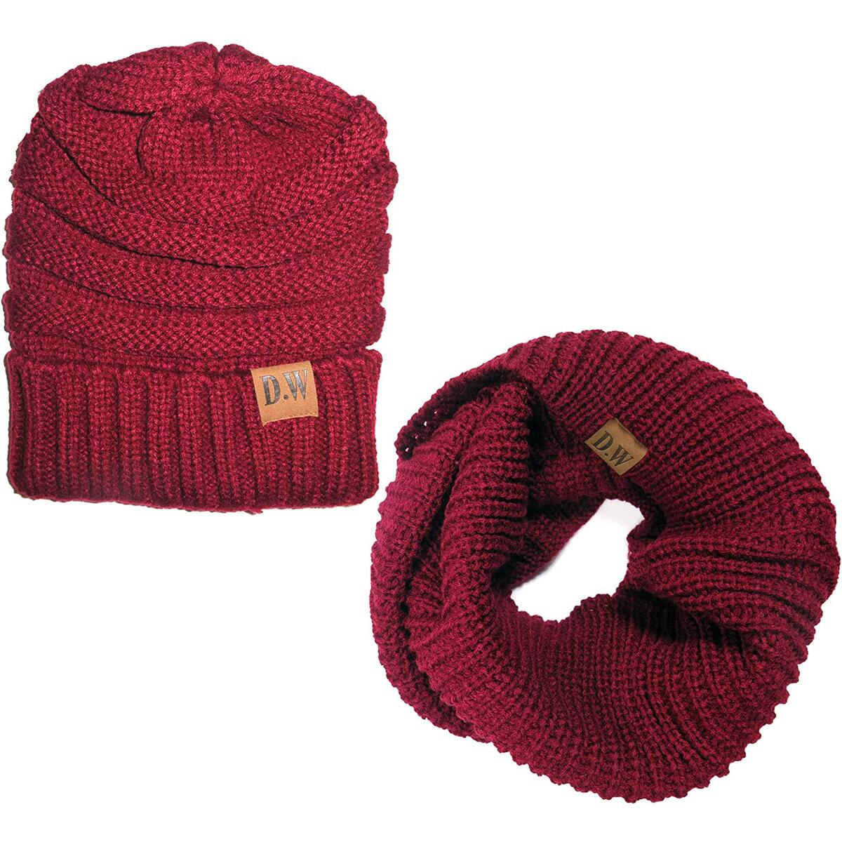 Womens Thick Knit Infinity Loop Scarf And Beanie Hat Set, Warm For The Winter In 6 Colors By Debra Weitzner Burgundy all colors