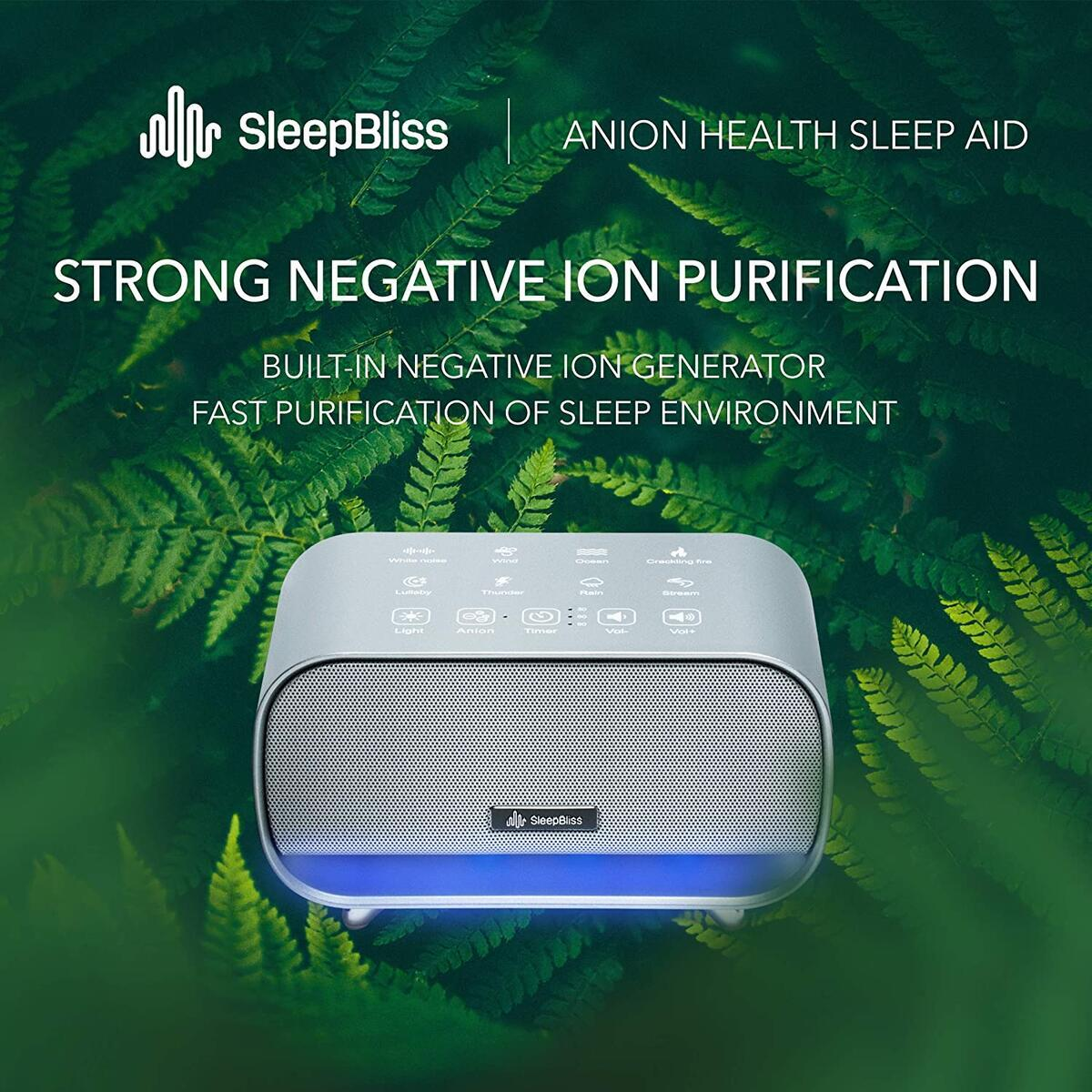 SleepBliss Portable White Noise Machine   24 Unique HiFi Sounds   Touch Button Feature   2 Night Lights Rechargeable Travel Sound Machine for Baby Negative Ion Purifier Auto-Off Timer Tinnitus Relief