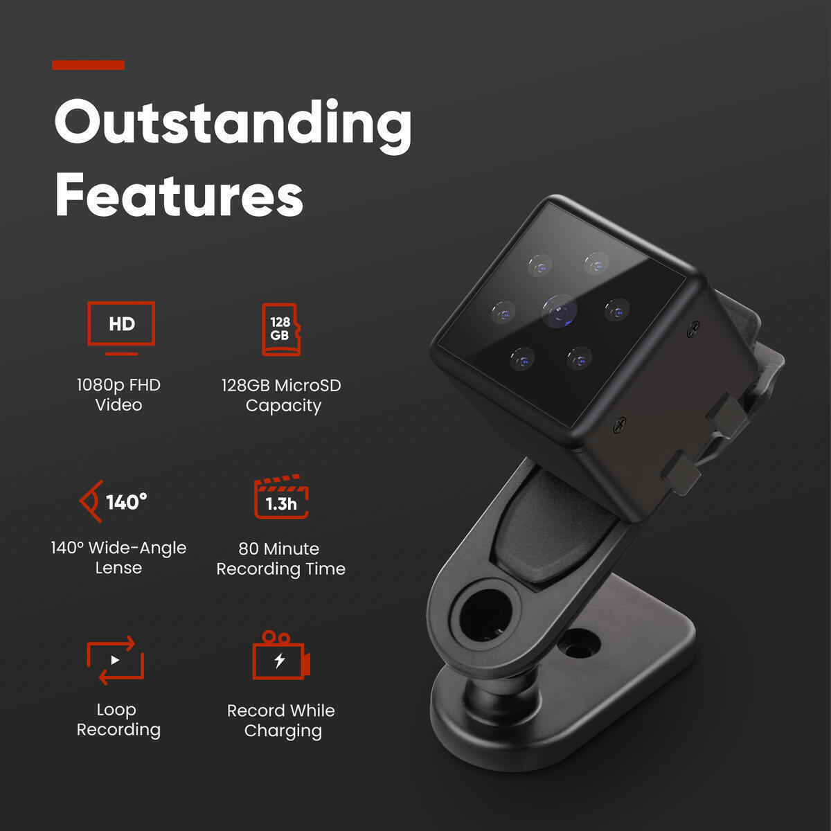Mini Spy Camera 1080p Full HD - Mountable Hidden Camera With Motion Detection And Night Vision - Portable Spy Cam For Surveillance - Indoor Nanny Cam - Outdoor Security Camera - Supports 8 to 128GB SD