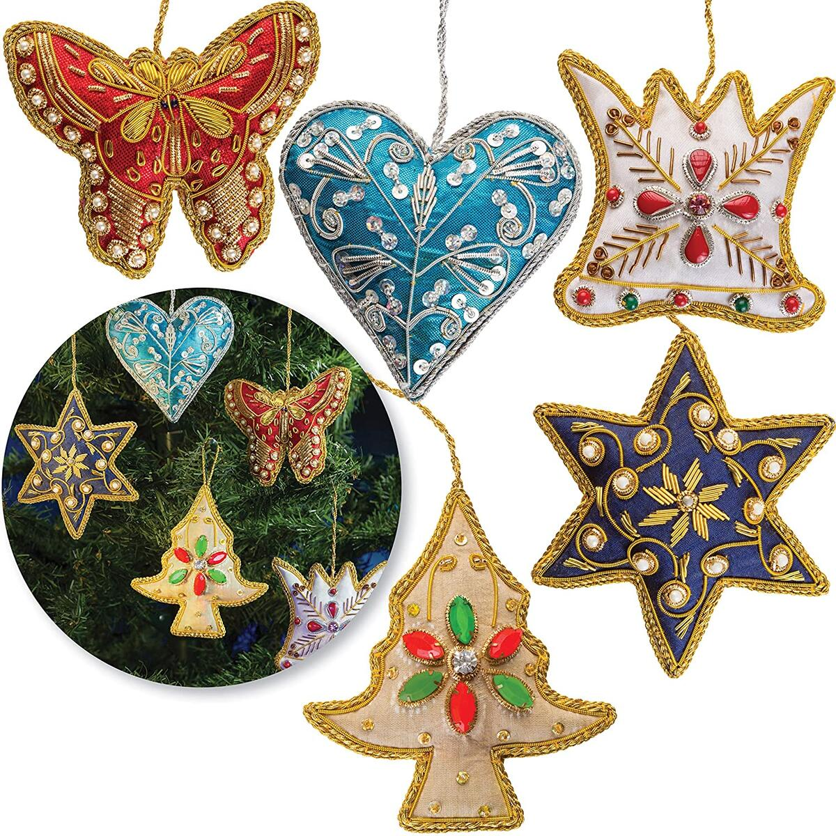 Christmas Tree Ornaments Handmade Decorations Set of 5 Beaded Embroidered Pearl Hanging Fabric Cloth Elegant Hand Stitched Unique Holiday Present Idea Xmas Stocking Decor Star, Heart, Crown, Butterfly