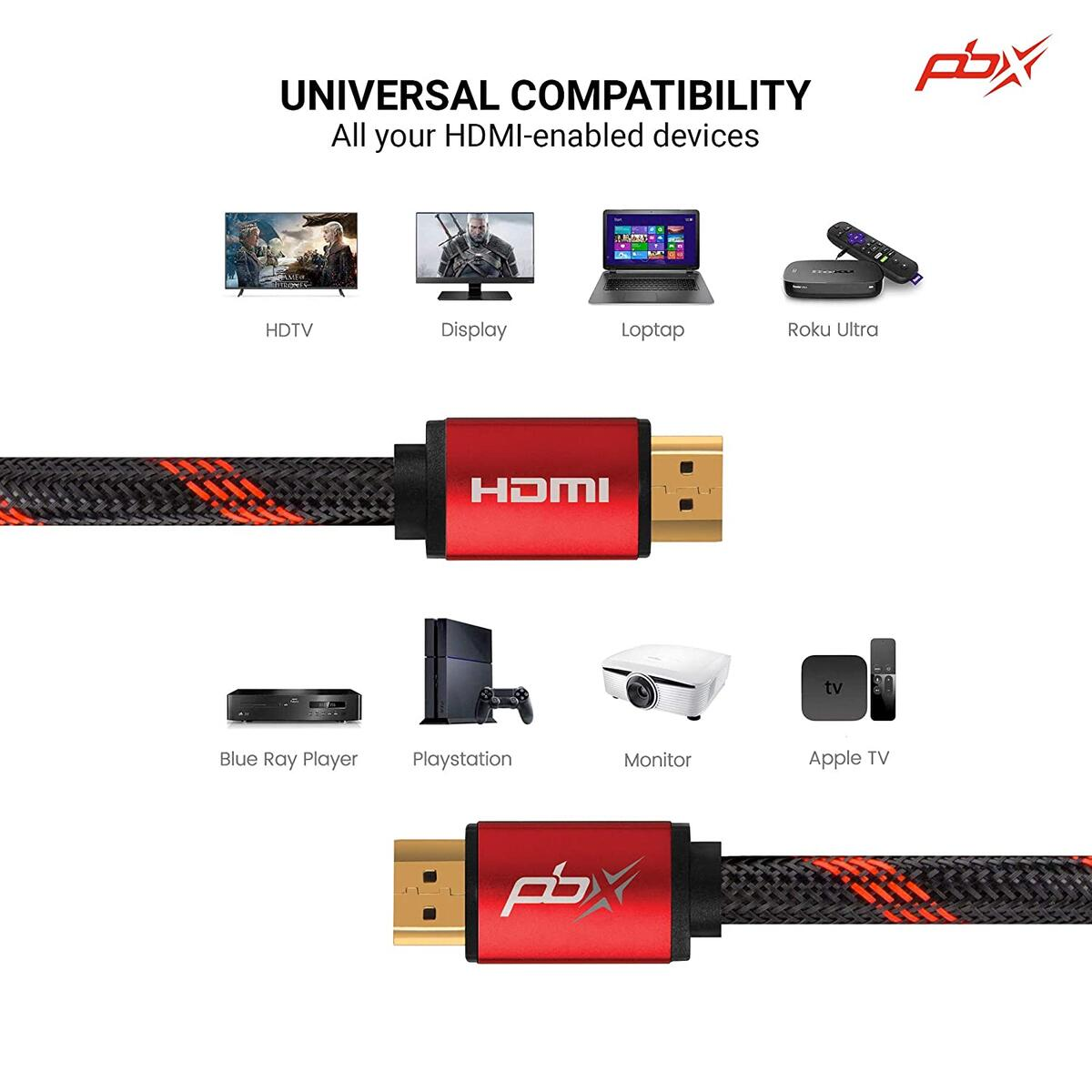 PBX Premium HDMI Cable, High Speed 18GBPS, Braided Cord, 6-Foot