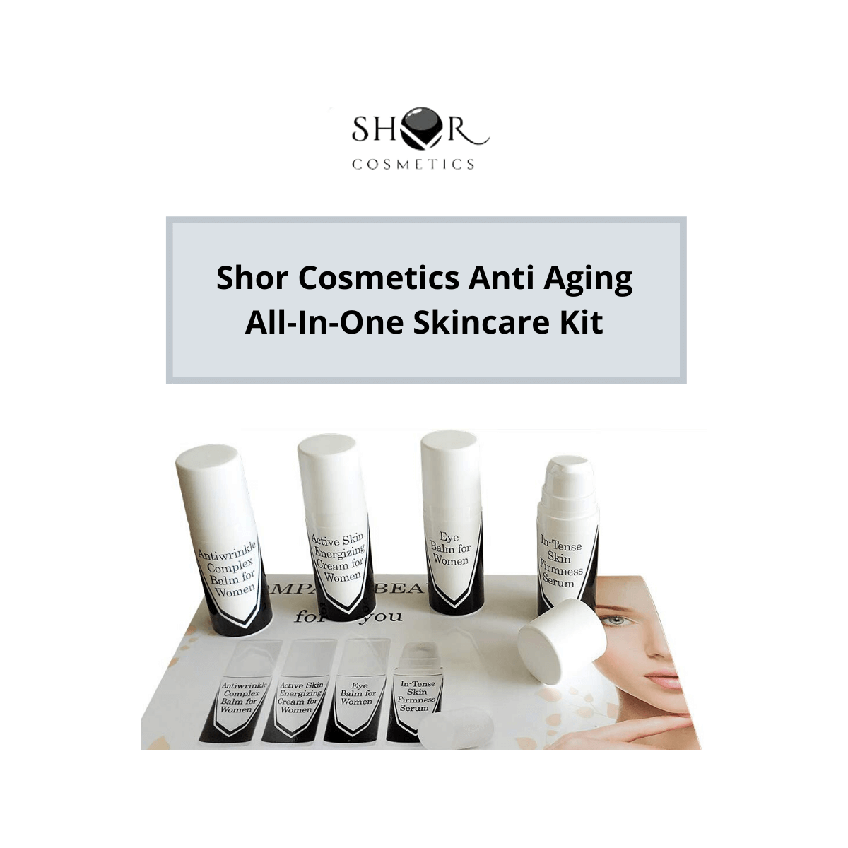 Shor Cosmetics Anti Aging Skin Care Kit, Pack of 4 (Serum, Eye balm,Wrinkle Balm, Age Rebel Energizing Cream) Renewing Day Protection Set and Radiance Lotion for Glowing Face for Women,10 ml each