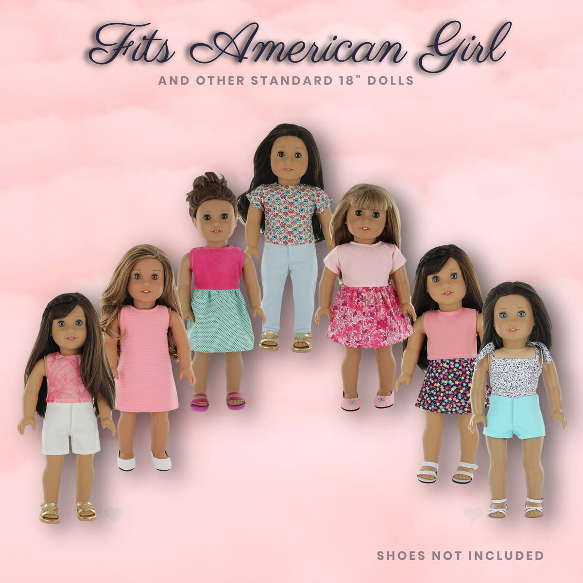 PZAS Toys 18 Inch Doll Clothes - Fits American Girl Doll Clothes- Wardrobe Makeover, 7 Outfits