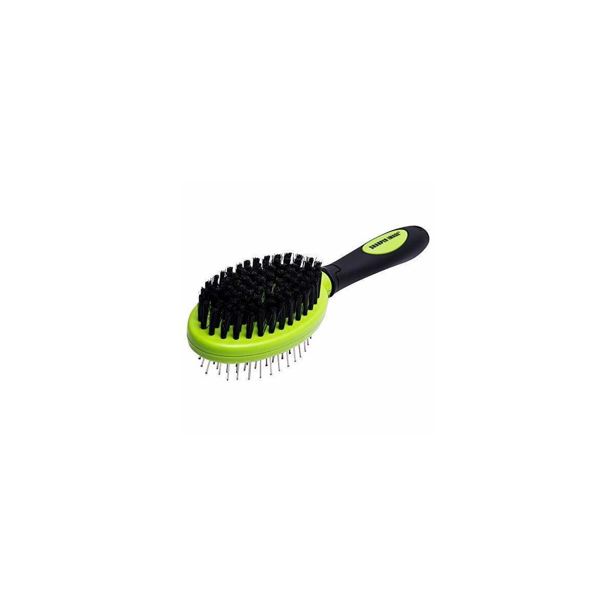 Sharper Image Pet Brush, Dog Brush & Cat Brush, Pet Grooming Comb, 2 Sided Bristle & Pin for Long Hair & Short Hair Dog, Removing Shedding Hair