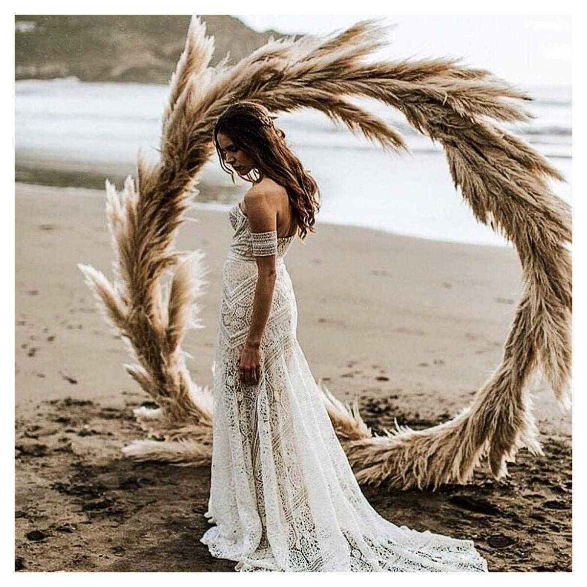 Pampas Grass | 4FT | 6 Stems | Fluffy Artificial, Faux Pampas | Perfect for Wedding Flower Arrangements, Boho Home Decor & More!