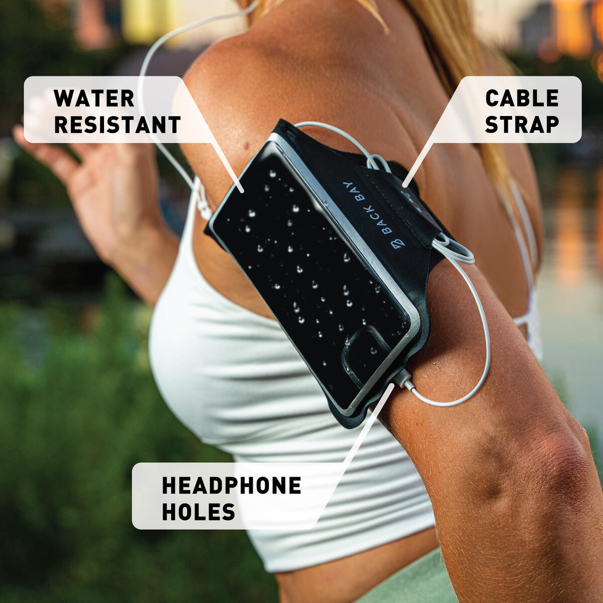 No-Slip Running Armband for Cellphones (Fits iPhone 11 Pro/11/XS/X/8, Galaxy S10/S9/S8 - All Regular Phone Sizes)