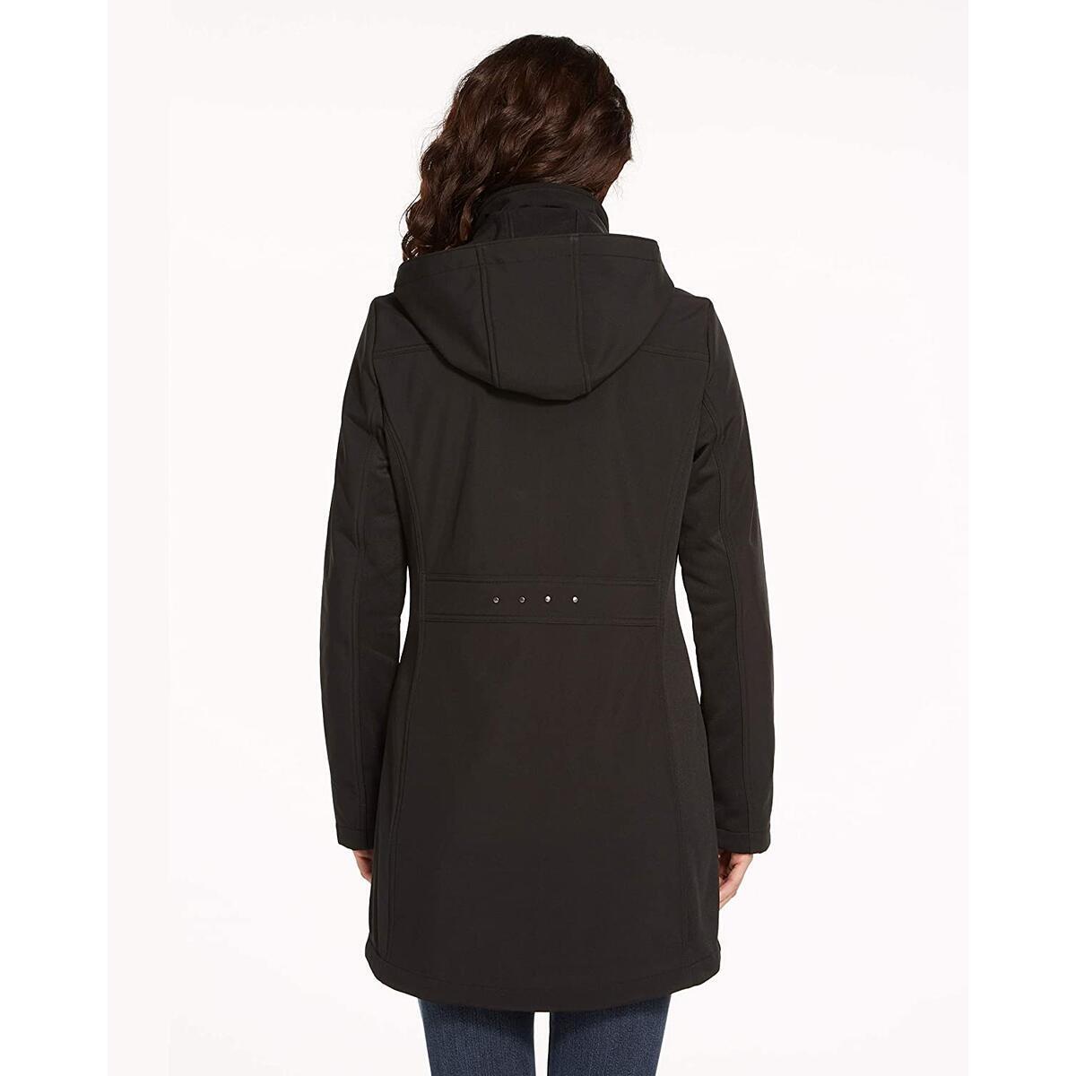 Weatherproof Womens Raincoat Lightweight Softshell Water Resistant Rain Jacket with Detachable Hood
