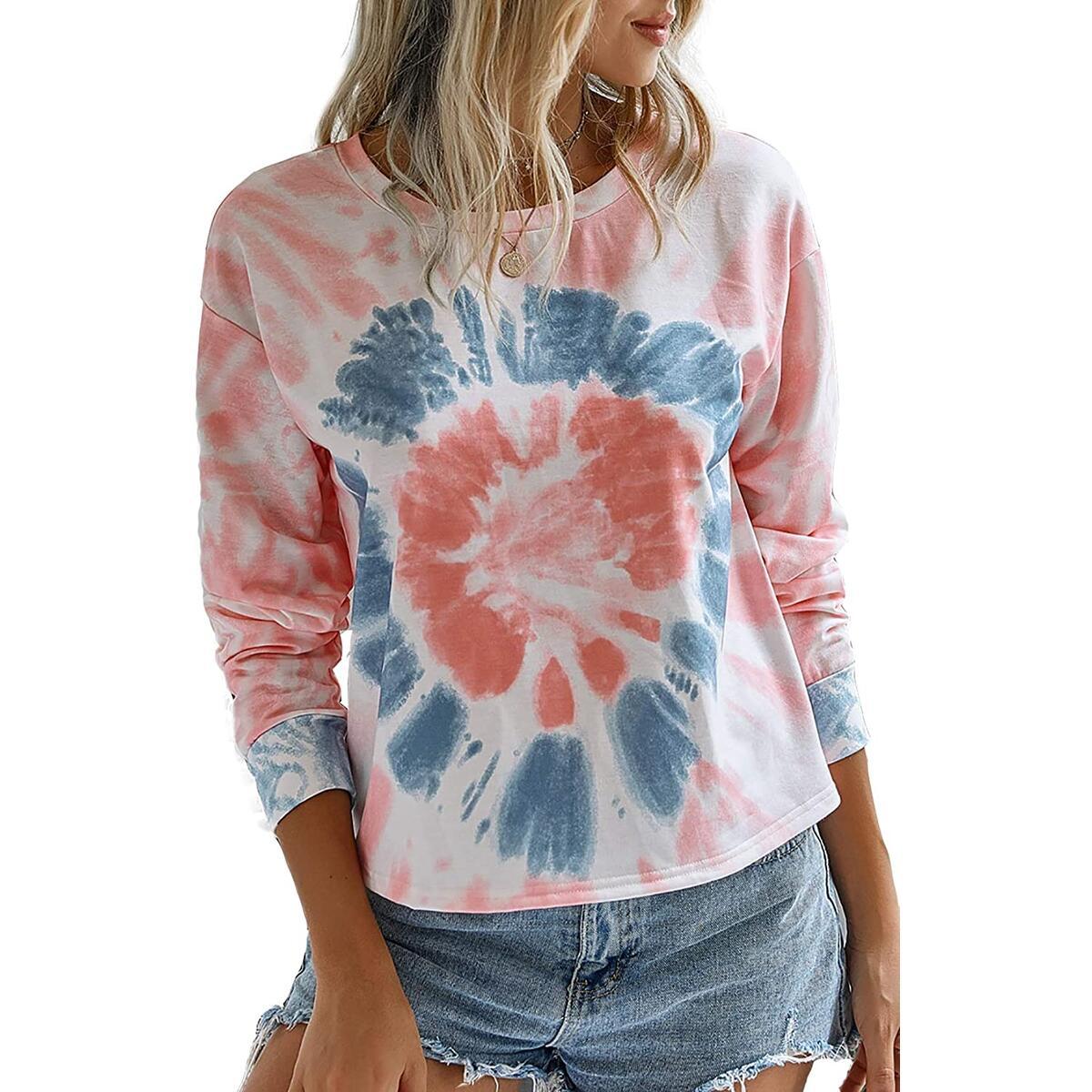 Minipeach Women's Tie Dye Shirts,Pajamas T Shirt Pullover Tunic Tops Sweatshirt