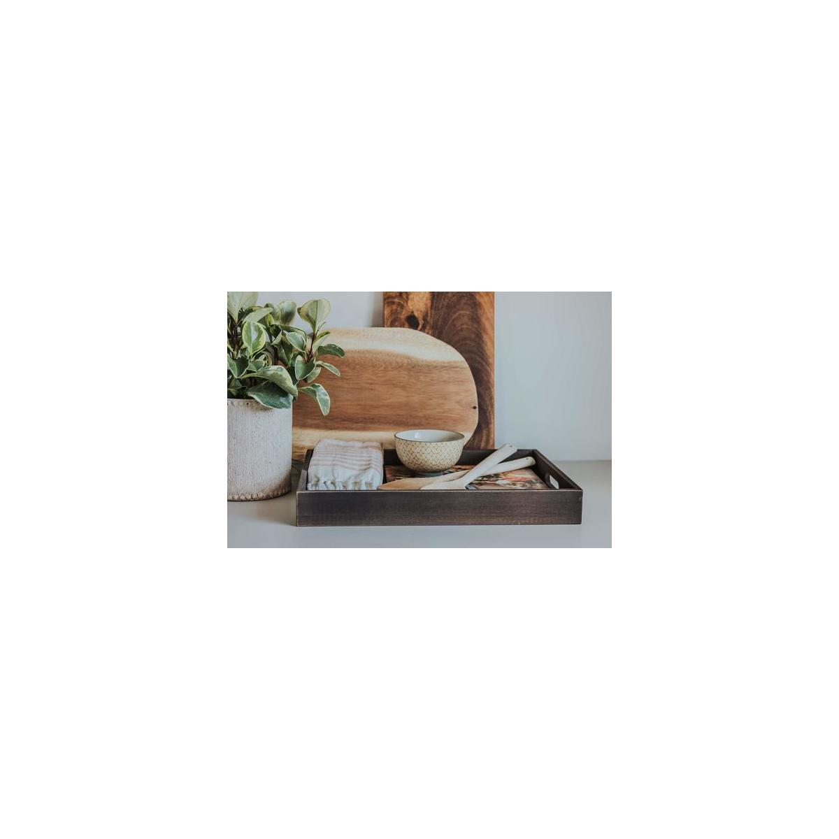 Wooden Stylish Ottoman Serving Tray | Cutout Handles Wood | Coffee Table | Black and White Fabric Lining | Home Decor | Rustic Decorative | Party serving