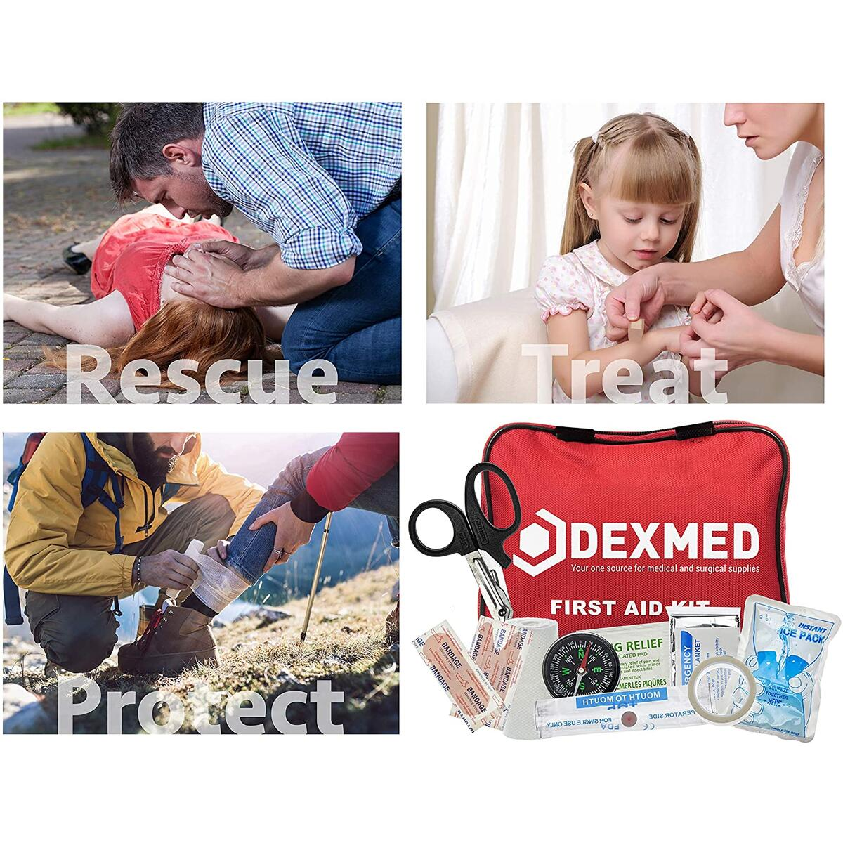 Dexmed All-Purpose Waterproof First Aid Medical Kit - 88 Pieces- Portable and Compact for Travel, Ideal for Home, Car, Workplace and Outdoor Emergencies