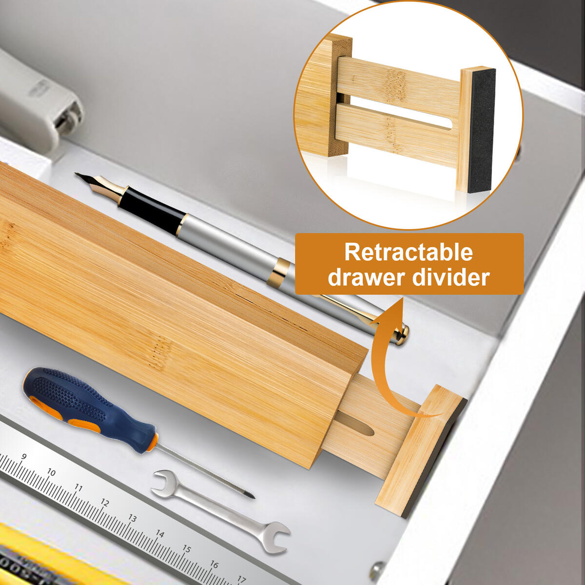 Bamboo Drawer Dividers,Drawer Organizer,Adjustable Suitable for Kitchen,Dressing Table,Bedroom,Office,4-Pack,17-22 Inches