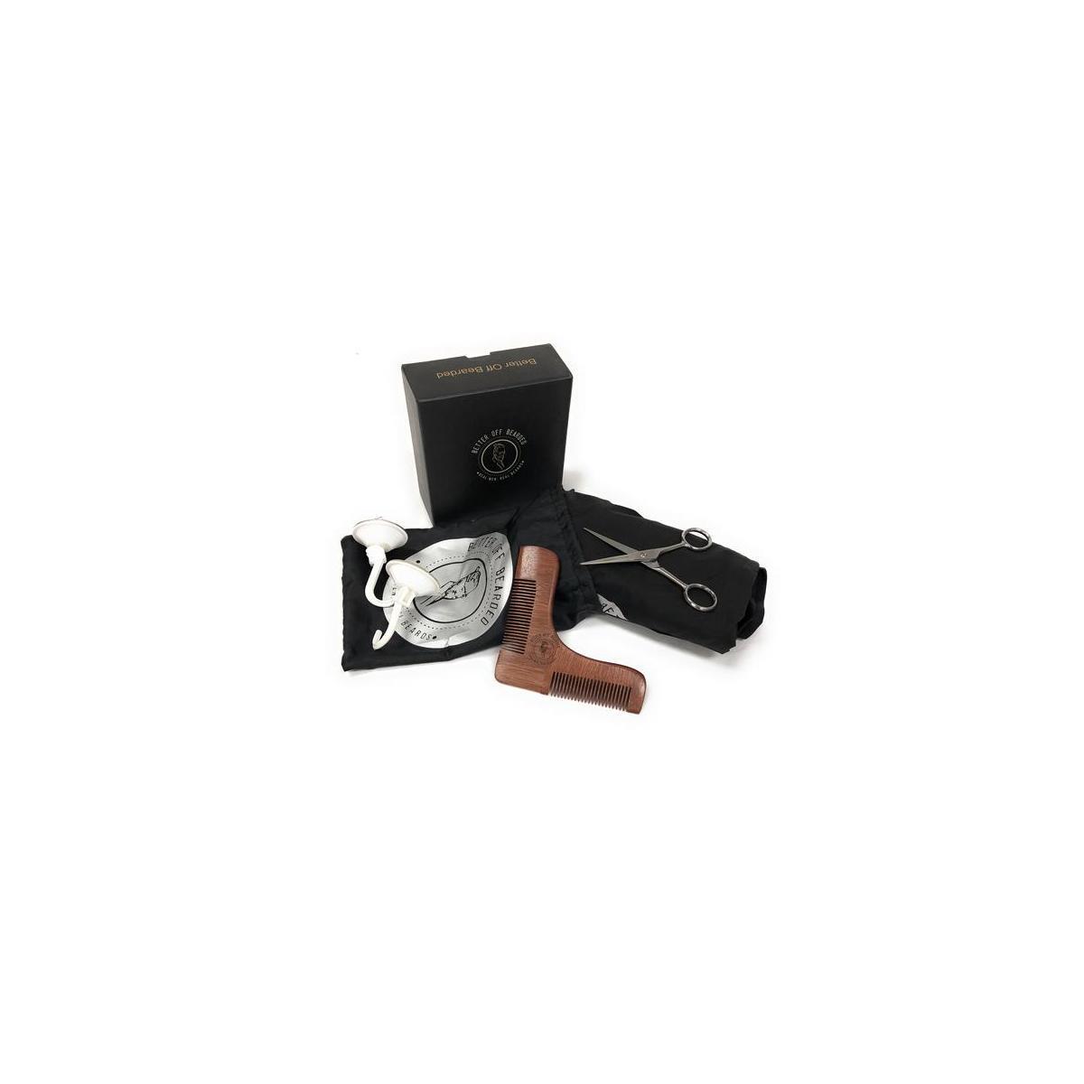 Beard Bib Shaving Apron Kit; Grooming Catcher for Trimming and Shaving Includes Premium Sandal Wooded Shaping Tool, Scissors, Storage/Travel Bag, and Sleek Gift Box