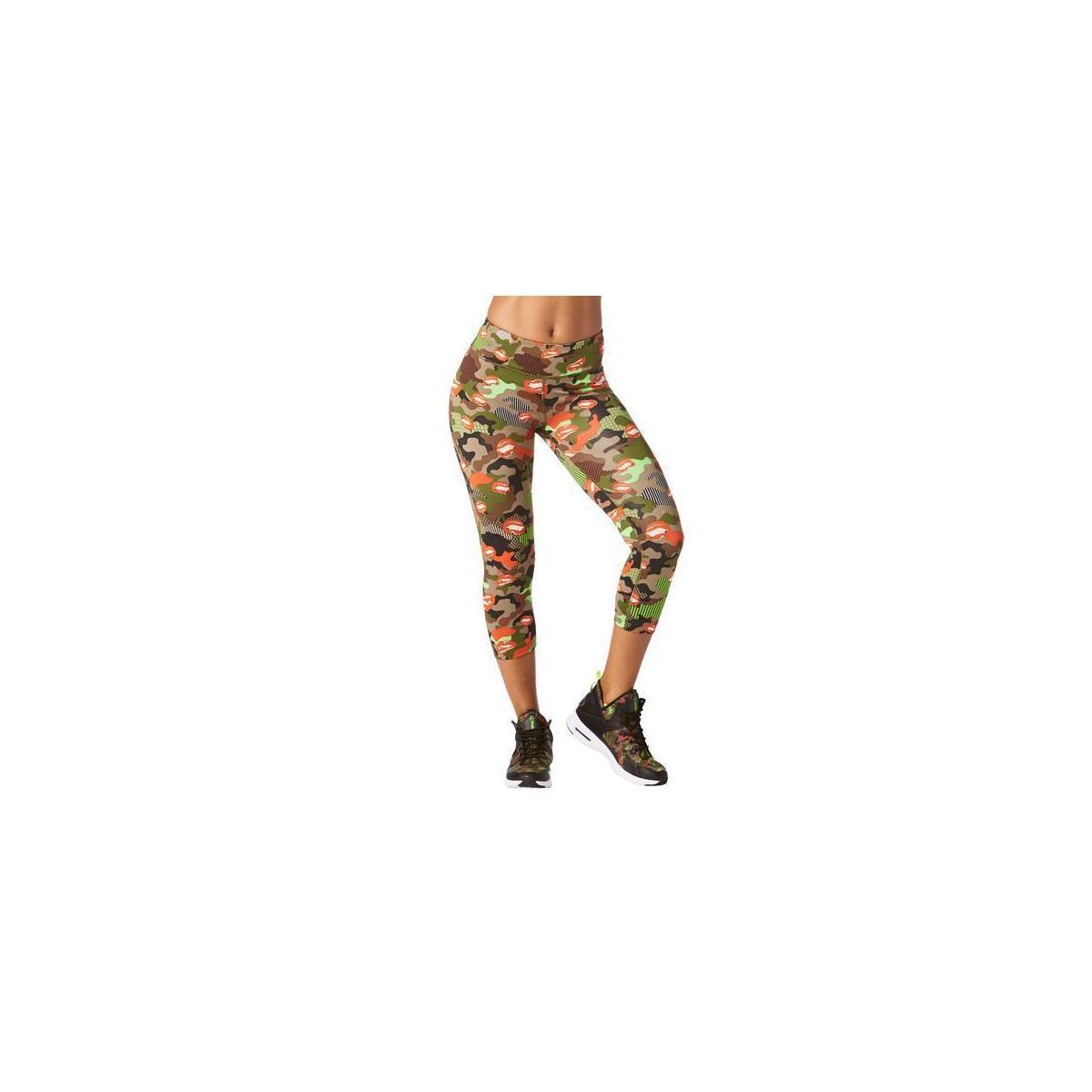 Zumba Dance Fitness Compression Pants Athletic Workout Print Capri Leggings for Women,  Heatwave, Medium