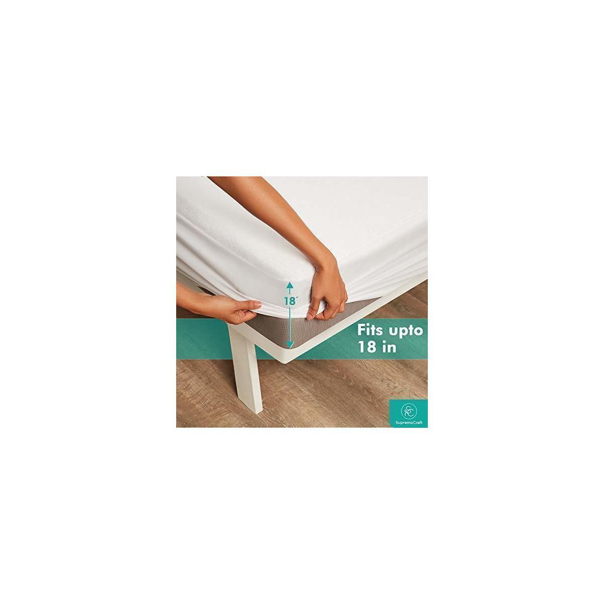 Supremo Craft Waterproof Mattress Protector California King Size - 100% Organic Cotton Breathable Mattress Pad Cover, Deep Pocket, Vinyl Free - [72