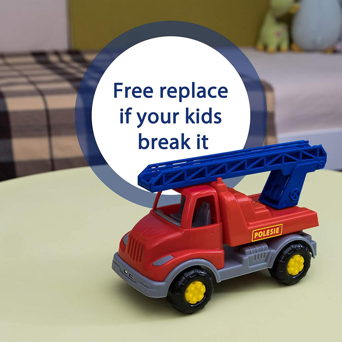 Fire Trucks for Toddlers - Fire Engine Toy for Boys Age 2-3 with Working Ladder - Construction Vehicle Toys by Polesie