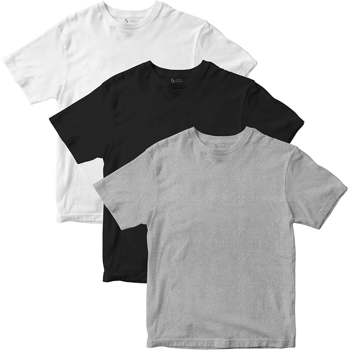 Aiden Parker Men's Breathable Ultra Soft Undershirts - 3 Pack Short Sleeve T-Shirts - Black / White / Heather Grey - Crew Neck (Size Large)