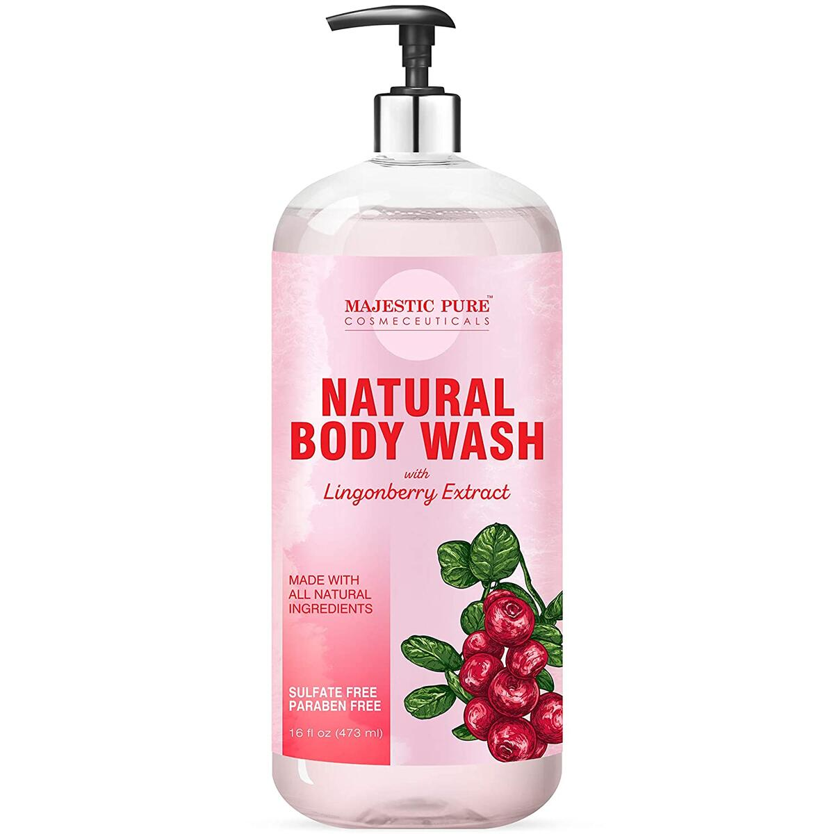 All Natural Body Wash with Lingonberry Extract - for Body, Face and Hand - Liquid Soap, Sulfate Free & Paraben Free, for Women and Men - 16 fl oz