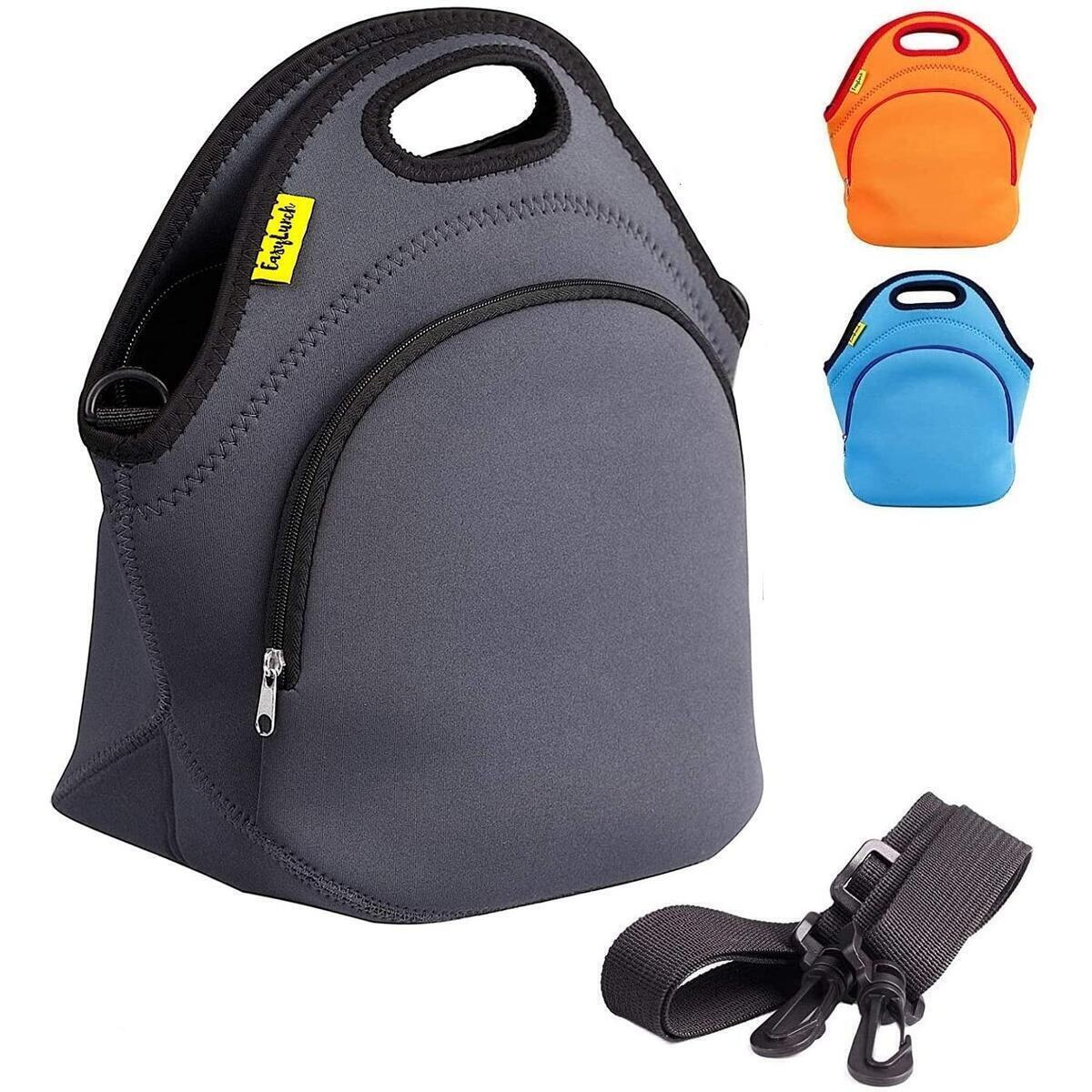 Gray Durable Insulated Neoprene Lunch Bag - For Women & Kids & Men Lunch Box Bag With Detachable Shoulder Strap Outside Zip Pocket Thermal Bags For Cold And Hot Food Reusable Waterproof