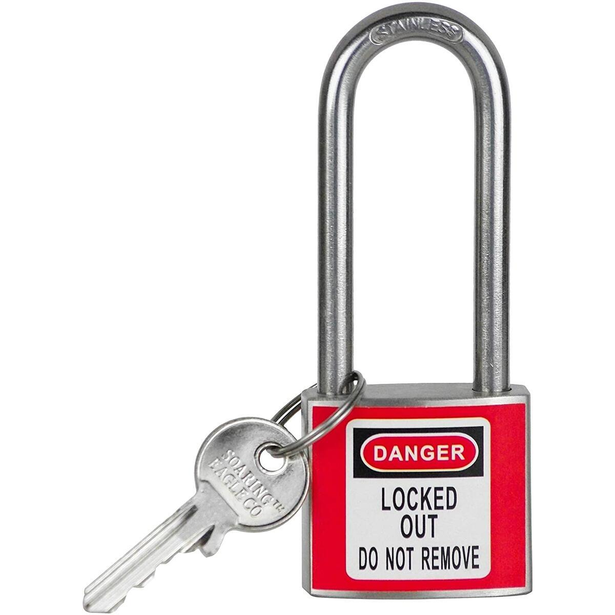 Stainless Steel Lockout Tagout Lock - 1 Red - Soaring Eagle Co