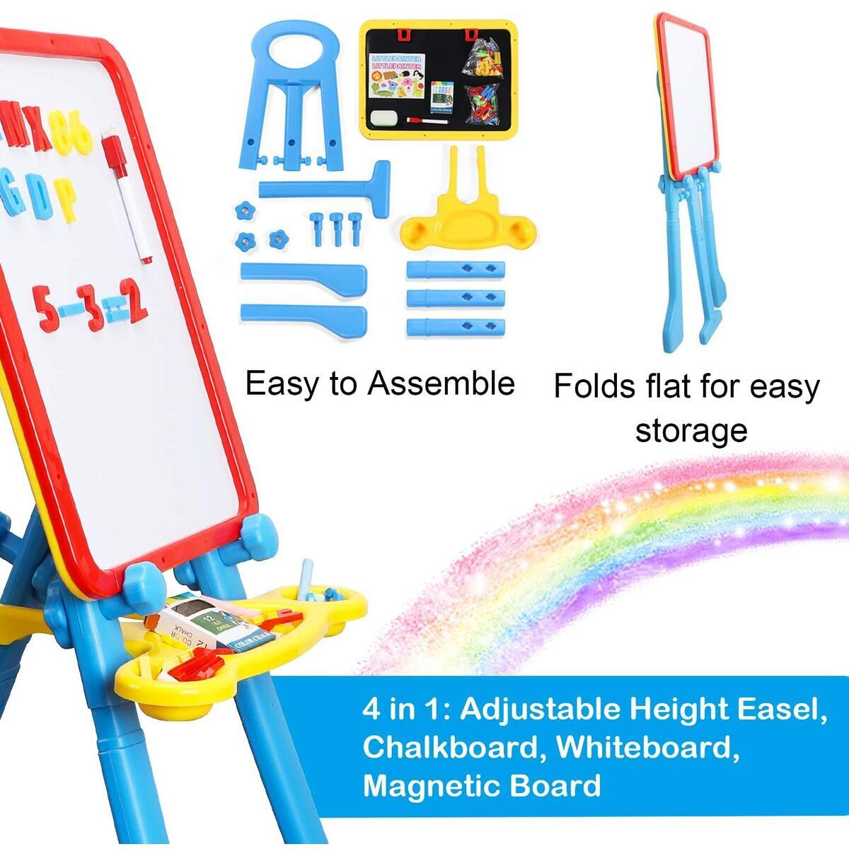 Art Easel for Kids | 4 in 1 Magnetic Board, Chalkboard, Painting Easel, and Drawing White Board for Kids Toddler | Includes Magnetic Letters and Numbers | Easy Storage and Adjustable Height