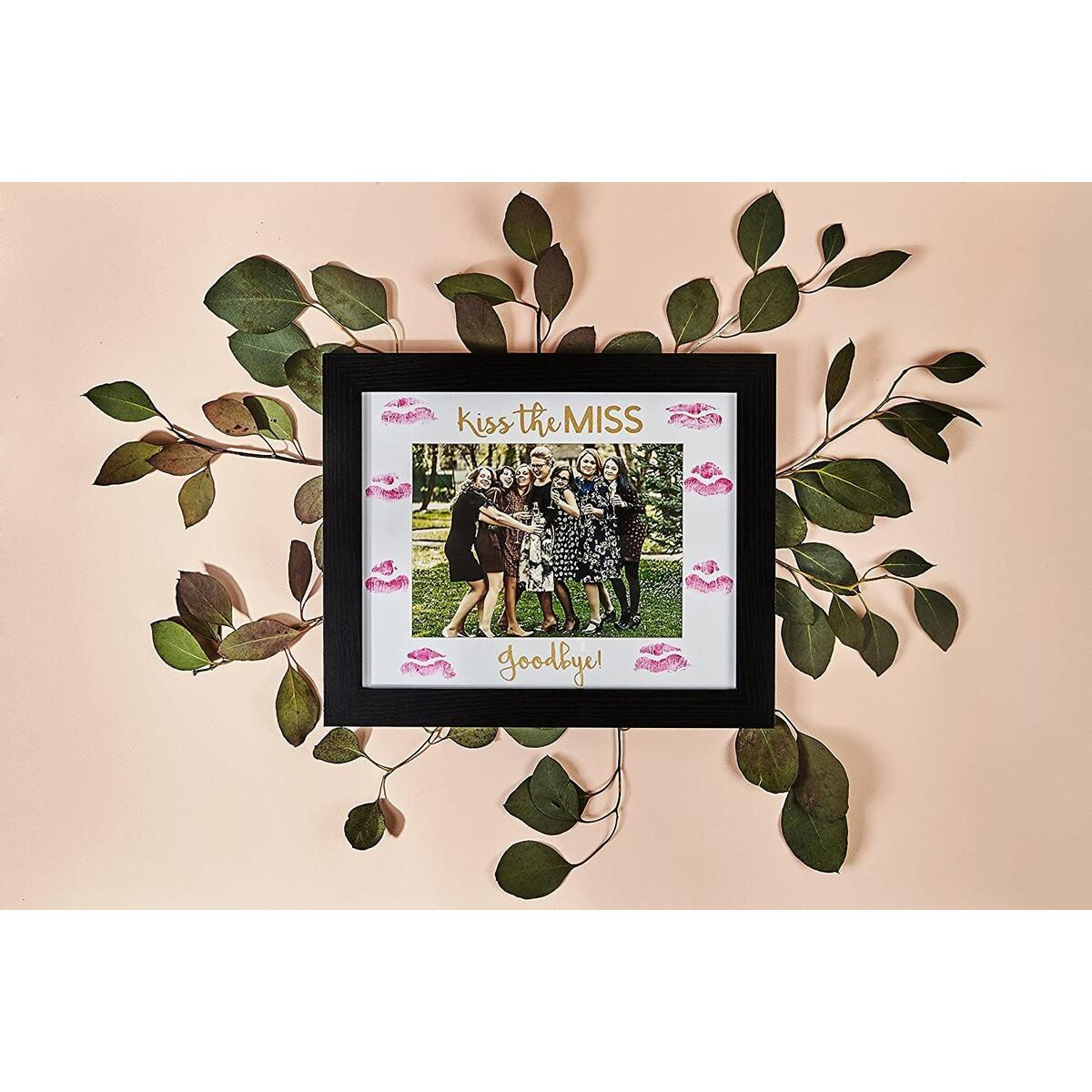 Bachelorette Gift for The Bride - Picture Frame - Kiss The Miss Goodbye, Fits 5x7 Photo