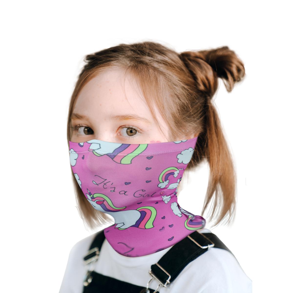 2-Pack Kids Neck Gaiter Breathable Unicorn Face Mask