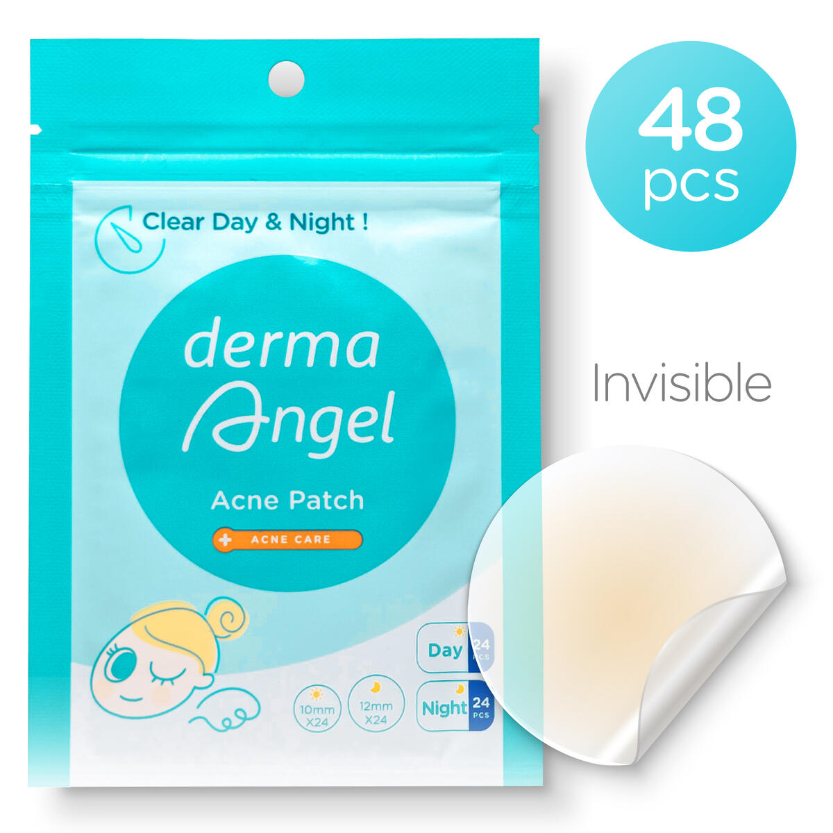 DermaAngel Acne Patches - Invisible Pimple Patch - Mighty Hydrocolloid Zit Stickers for Face - Cover Dots & Blemish - Spot Healing Treatment Sticker (48 pcs pack) - Day & Night Absorbing Skin Care