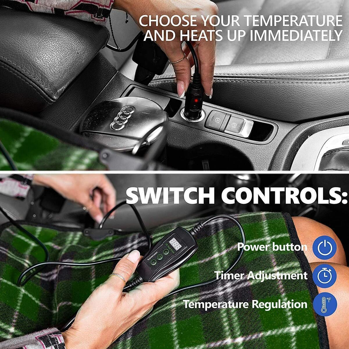 Zento Deals Heated Travel Car Pad – 12V Green Plaid Premium Quality Electric Warm Pad, Relieves Back Pain, Fleece Material, Perfect for Travelling and Winter Season, Non-Flammable