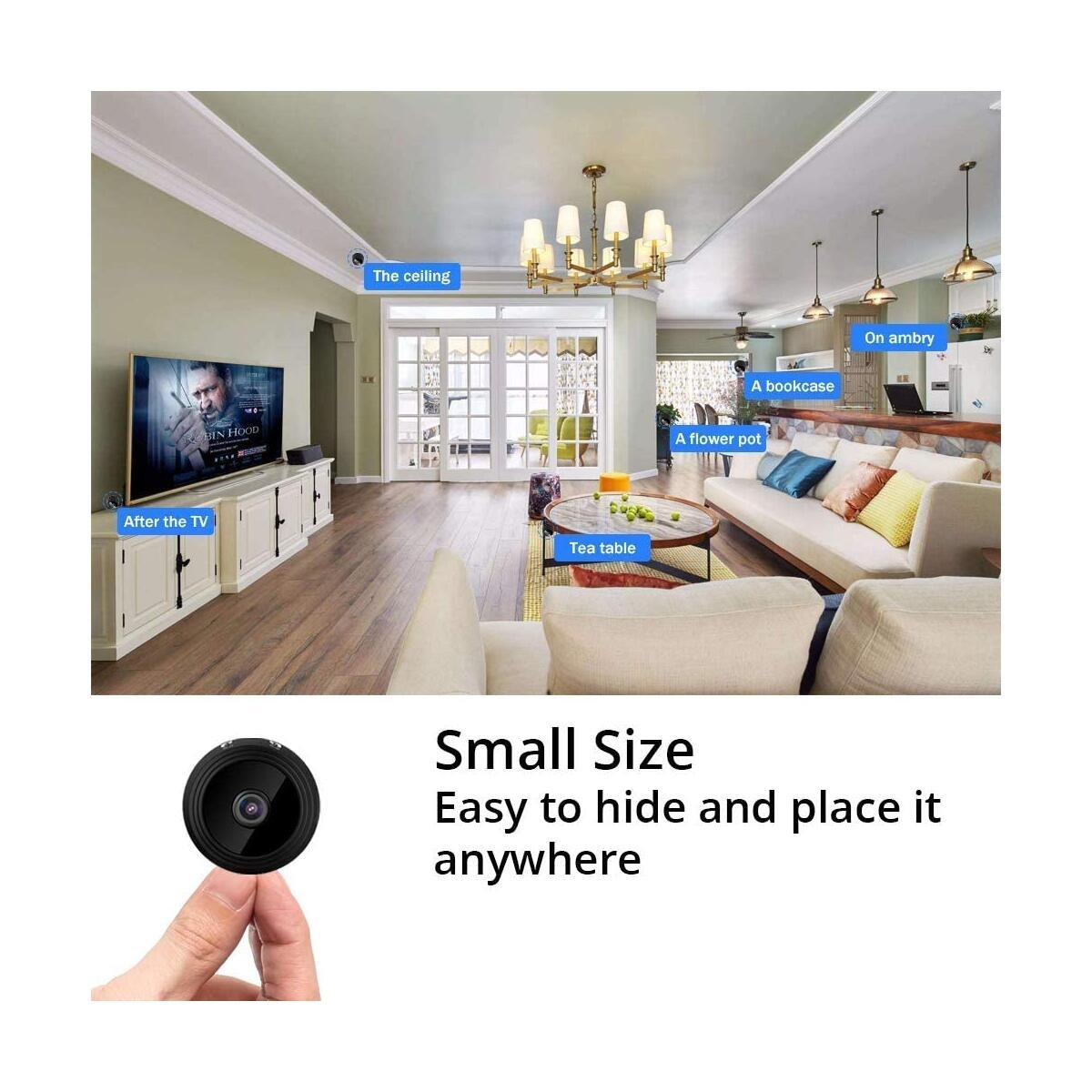 Wireless Mini Camera 1080P - Night Vision - Motion Detection - iOS Android App