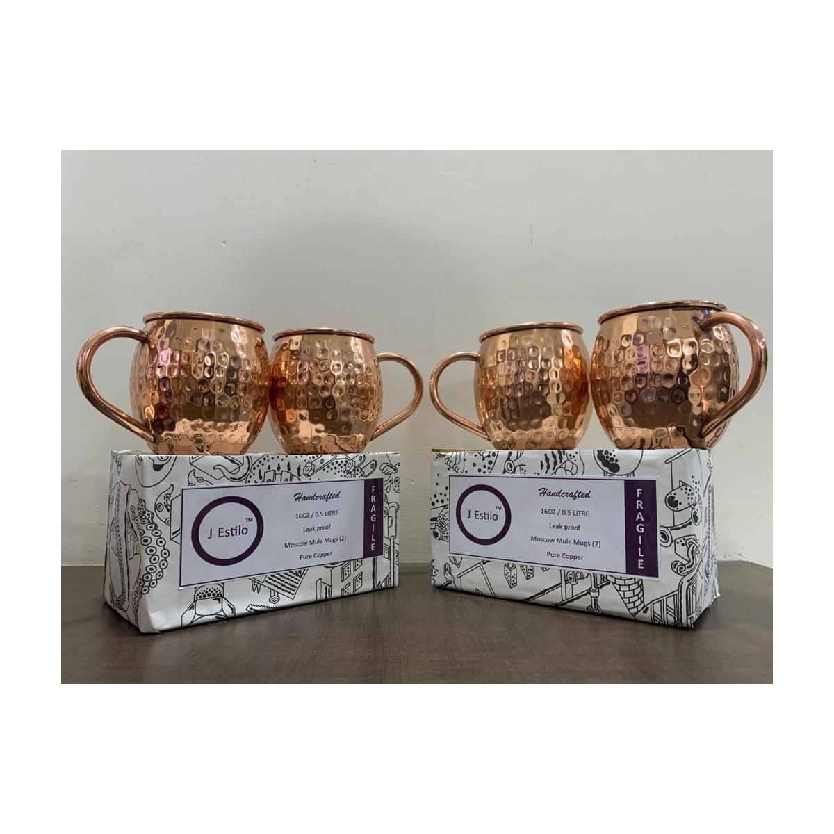 [Gift Set] JEstilo Pure Moscow Mule Copper Mugs – Leak proof Hammered Handcrafted design Set of 2 Pure Solid Copper Cups -16 oz – 22 Gauge Gift Product