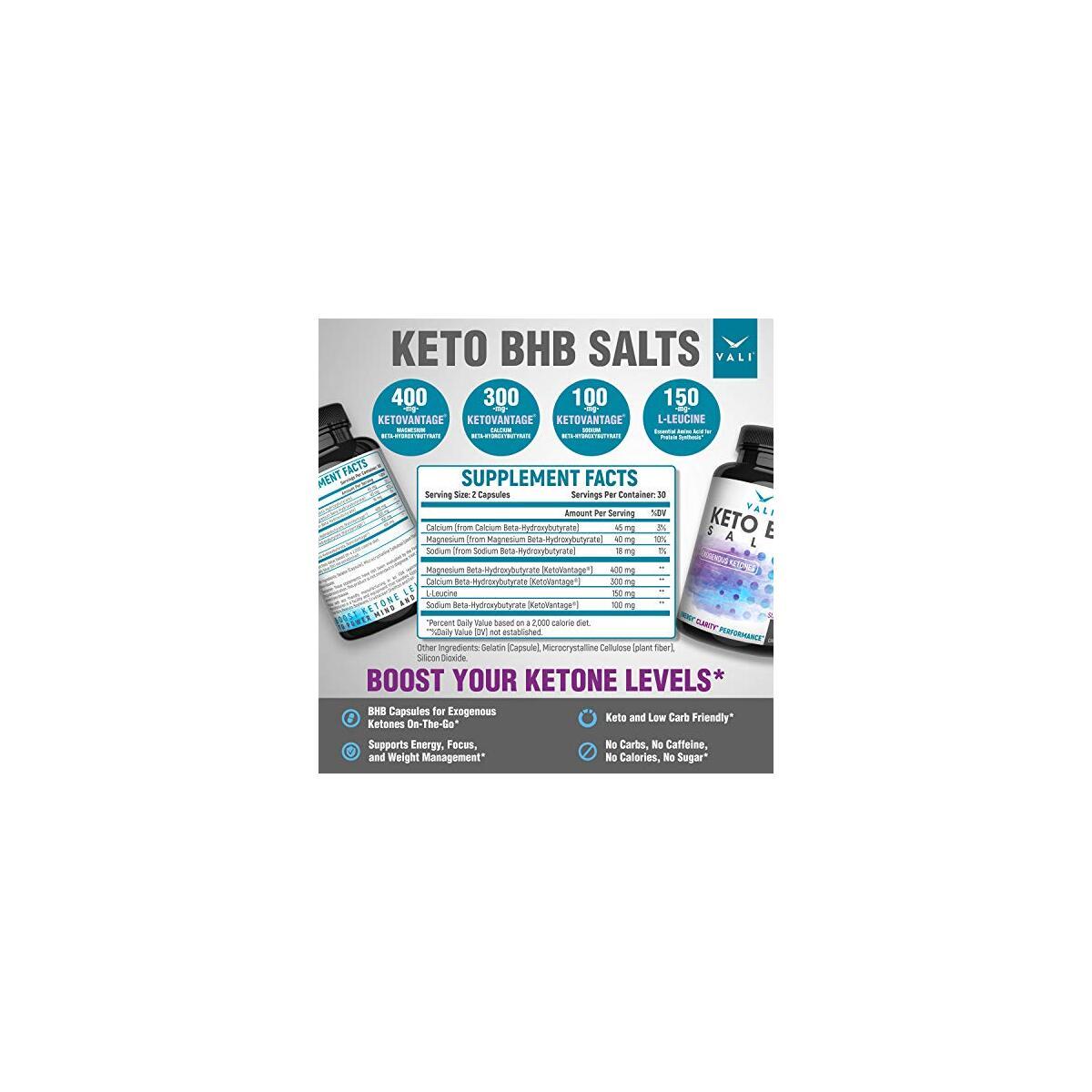 VALI Keto BHB Salt Pills Exogenous Ketones Capsules - Support for Ketogenic Low Carb Diet
