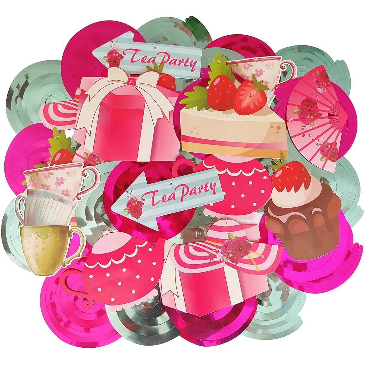 30Ct Tea Party Swirl Decorations, Alice in Wonderland Party Supplies, Tea Party Hanging Banners for Birthday Baby Shower Floral English Theme Vintage Décor, Teapots Teacup Cupcake