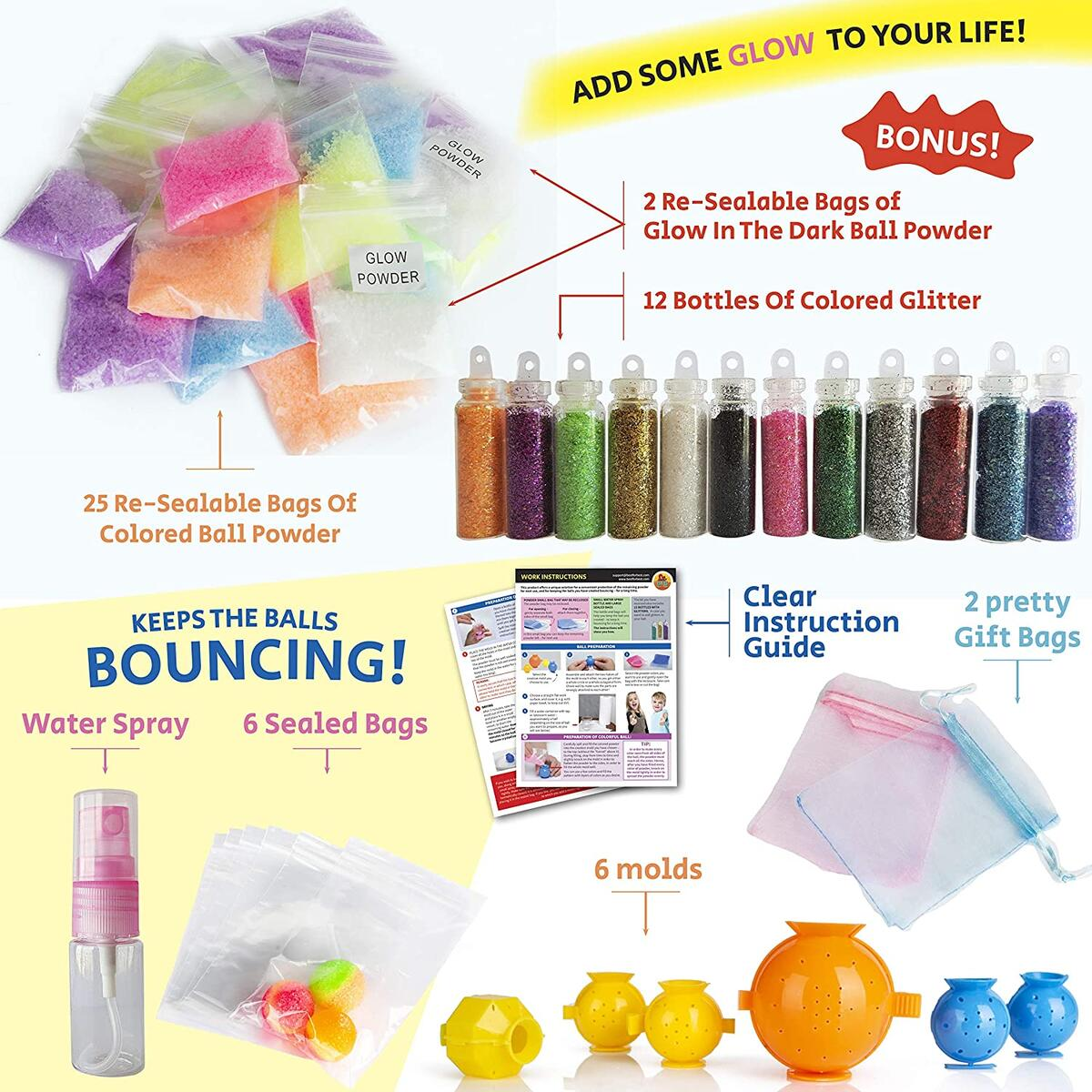 DIY Super Bouncy Balls Kit - Make Your Own Bouncy Balls, Crystal Power Craft Kits for Kids w/Multi-colored and Glow in the Dark Powders, Molds, Glitter, Illustrated Instructions and more - Age 6-12
