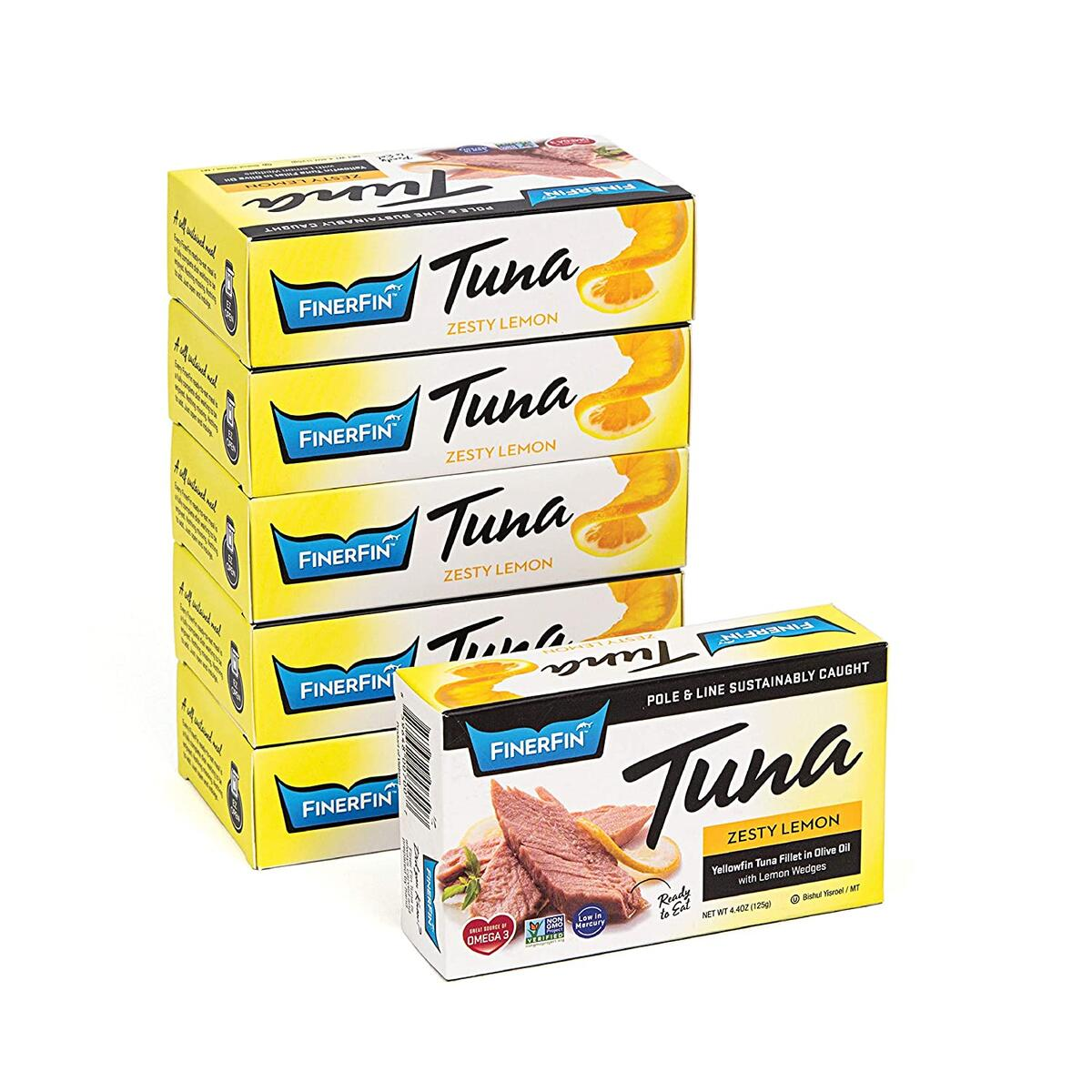 FinerFin Yellowfin Tuna In Organic Olive Oil – Zesty Lemon (4.4oz can - 6 Pack); Premium Canned Fish with EVOO, Keto Friendly, Gourmet Ready-to-Eat Fillets, Wild-Caught…