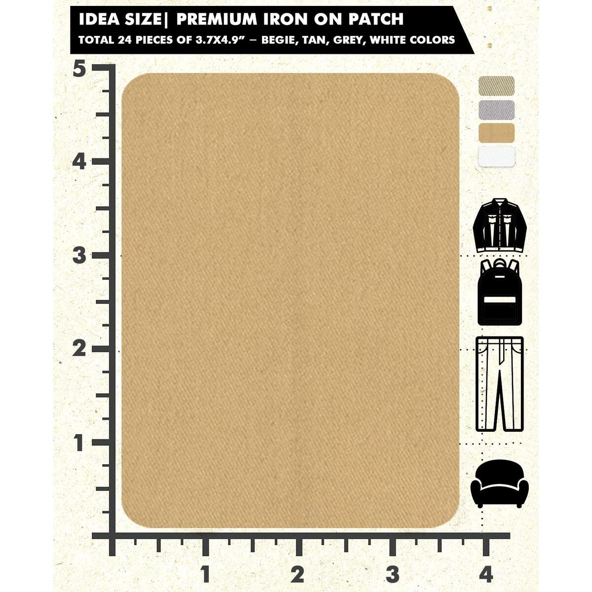 Repair Iron On Patches 4 Colors (White, Khaki, Tan, Begie)