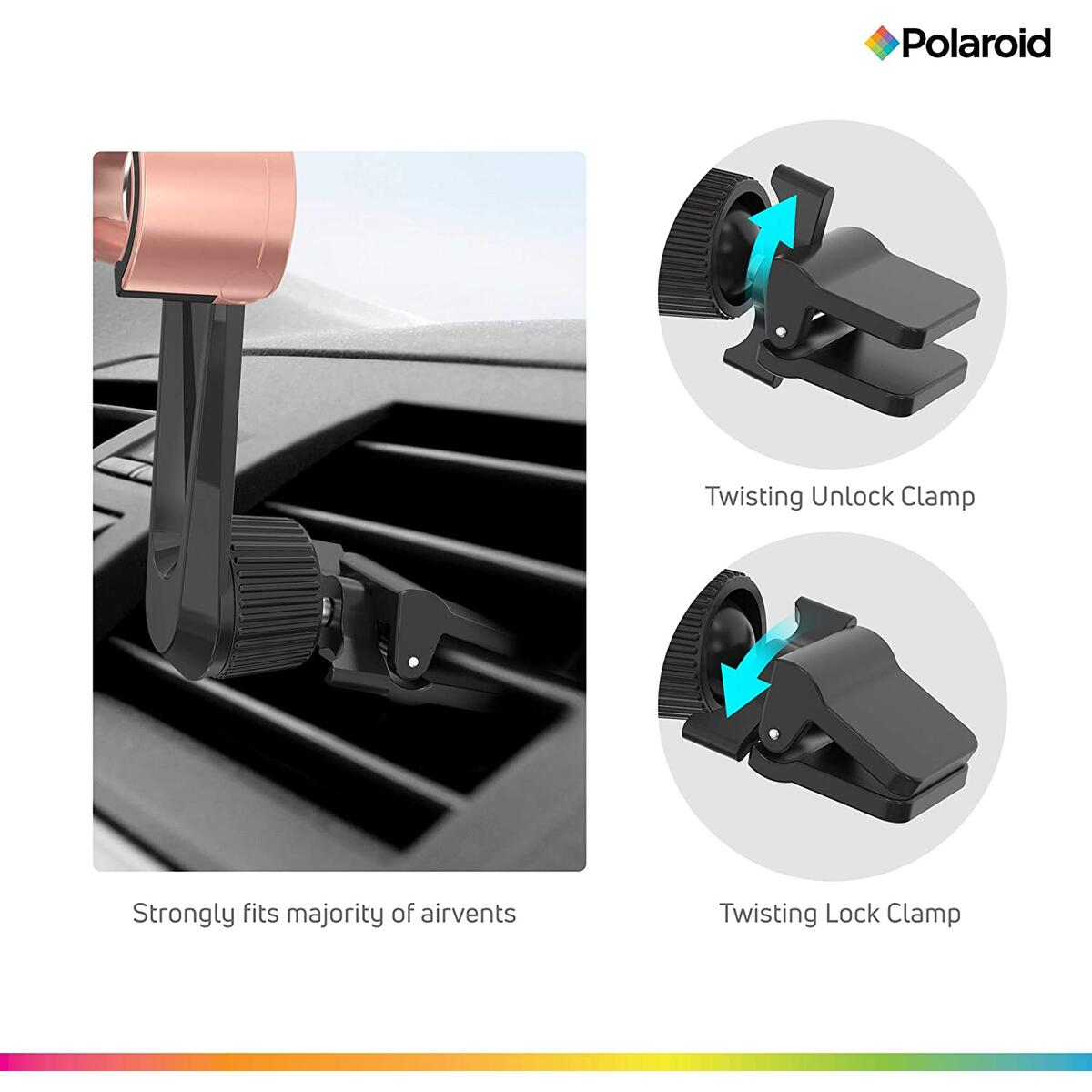 Cell Phone Holder for Car - Air Vent Mount - 360-Degree Adjustable Clamp