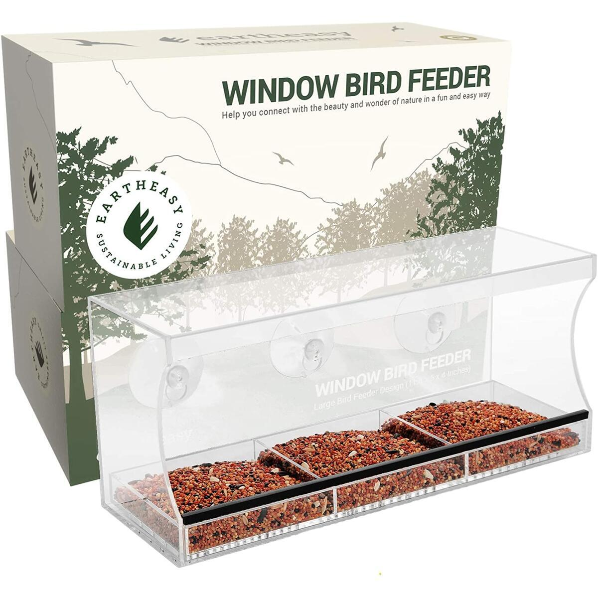 Eartheasy Window Bird Feeder with Free Window Decals – Large Bird Feeders for Outside with Strong Suction Cups and Removable Seed Tray – Perfect for Wild Birds, Finch, Cardinal, Bluebird, Love Birds