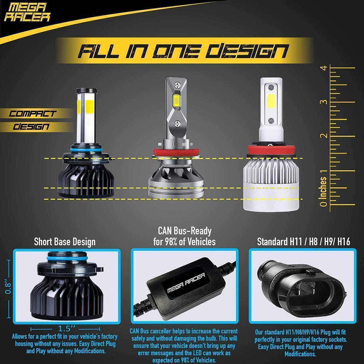 Mega Racer 4 Sided 9005/H10/HB3 LED Headlight Bulb - High Beam, Fog Light, or Low Beam 60 Watt 6000K Diamond White 10000 LM COB IP68 Waterproof Rating, 2 Pieces