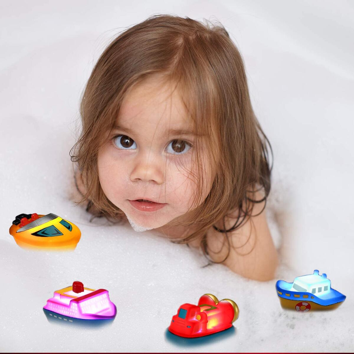 Bath Toys, 6 Packs Light up Boat Floating Rubber Set, Flashing Color Changing Light in Water, Tub Gift for Baby Infant Toddler Child Kid, Bathtub Ship Toy for Bathroom Shower Game Swimming Pool Party