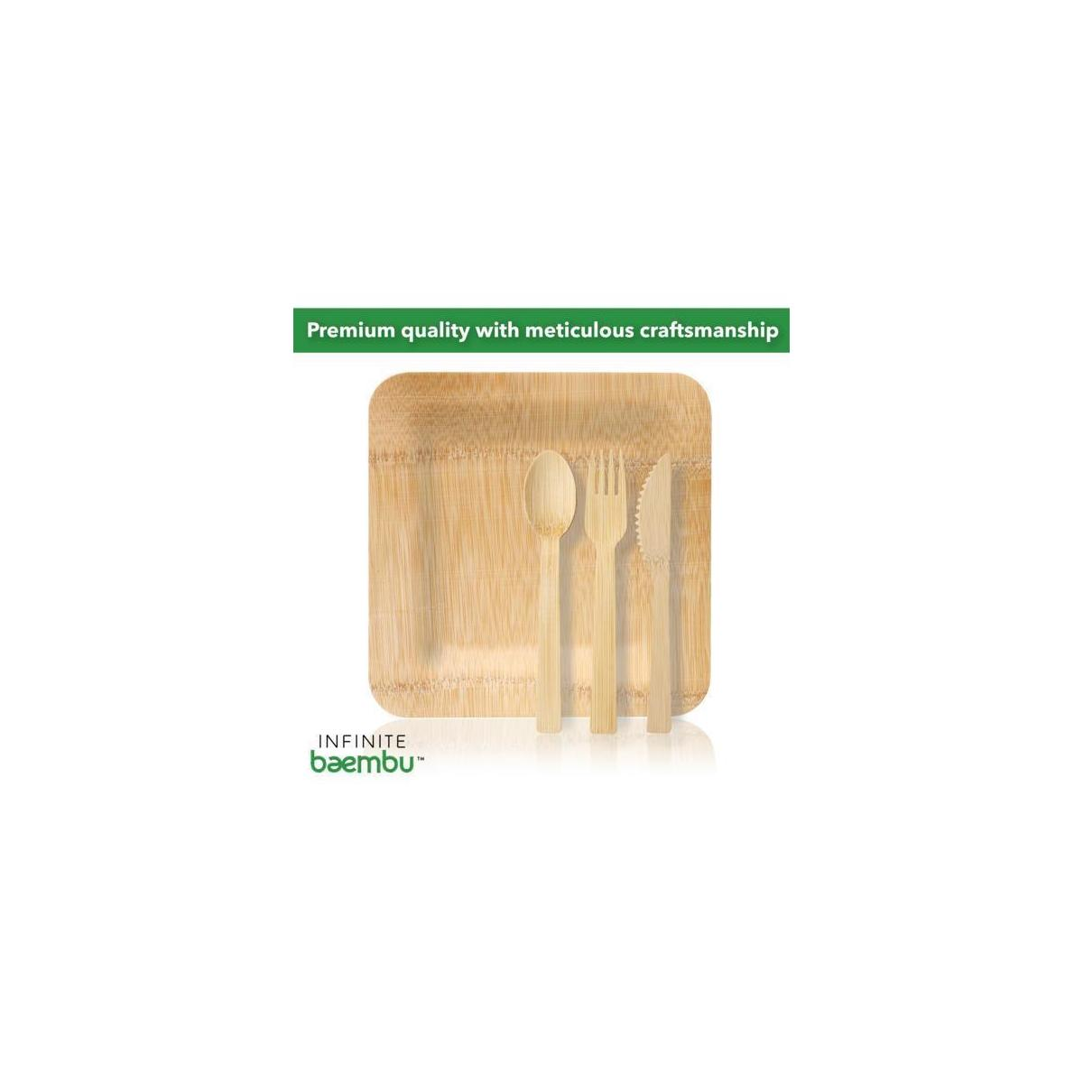 Premium Quality Disposable Bamboo Plates & Bamboo Cutlery Set (25 Plates, 25 Forks, 25 Knives, 25 Spoons) All-Natural, Biodegradable & Compostable | Elegant Dinnerware for Holidays & Upscale Events
