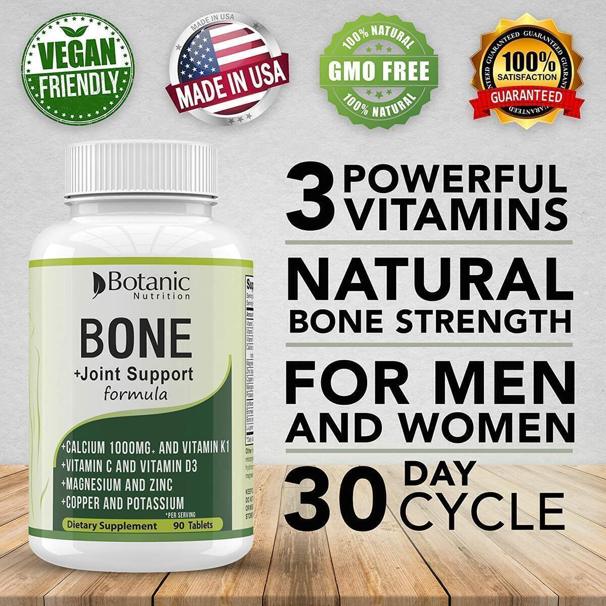 Bone Strength 1000mg Calcium Magnesium Potassium Supplement with Vitamin C, D3, K1 - Bone Vitamin for Men & Women - Best for Bone Support, Bone Growth and for Bone Health - 90 Vegetarian Tablets
