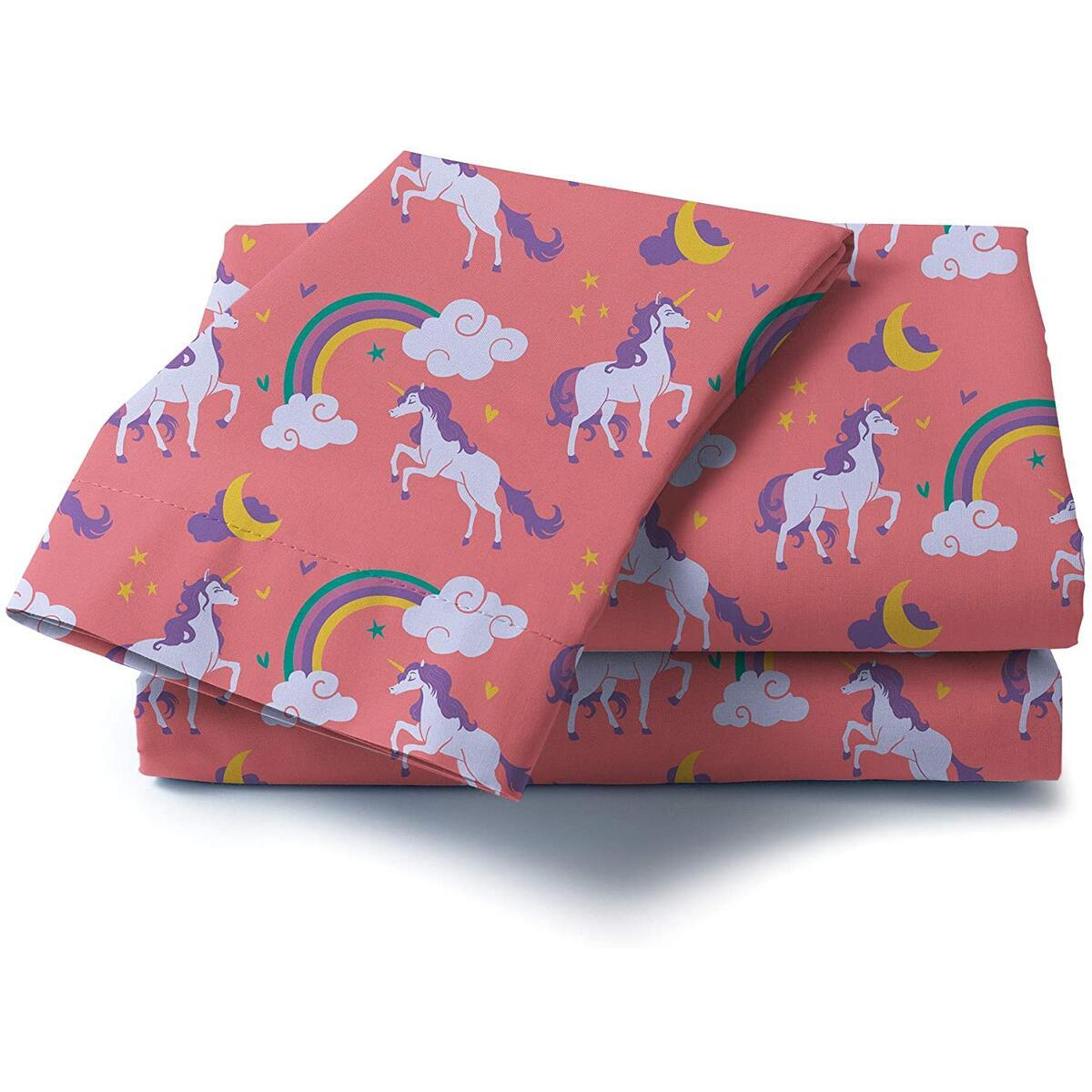 Castle and Clover Lunar Unicorn Sheets for Girls in Pink Twin