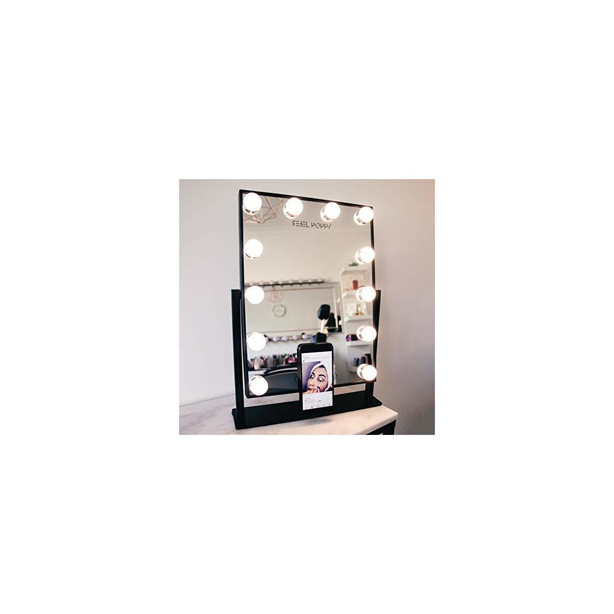 Rebel Poppy Vanity Mirror with Lights - Phone Holder and 3 Colour Touch Control, Hollywood Style Vanity Mirror, Replaceable and Dimmable LED Bulbs - Rebate for Black Color only